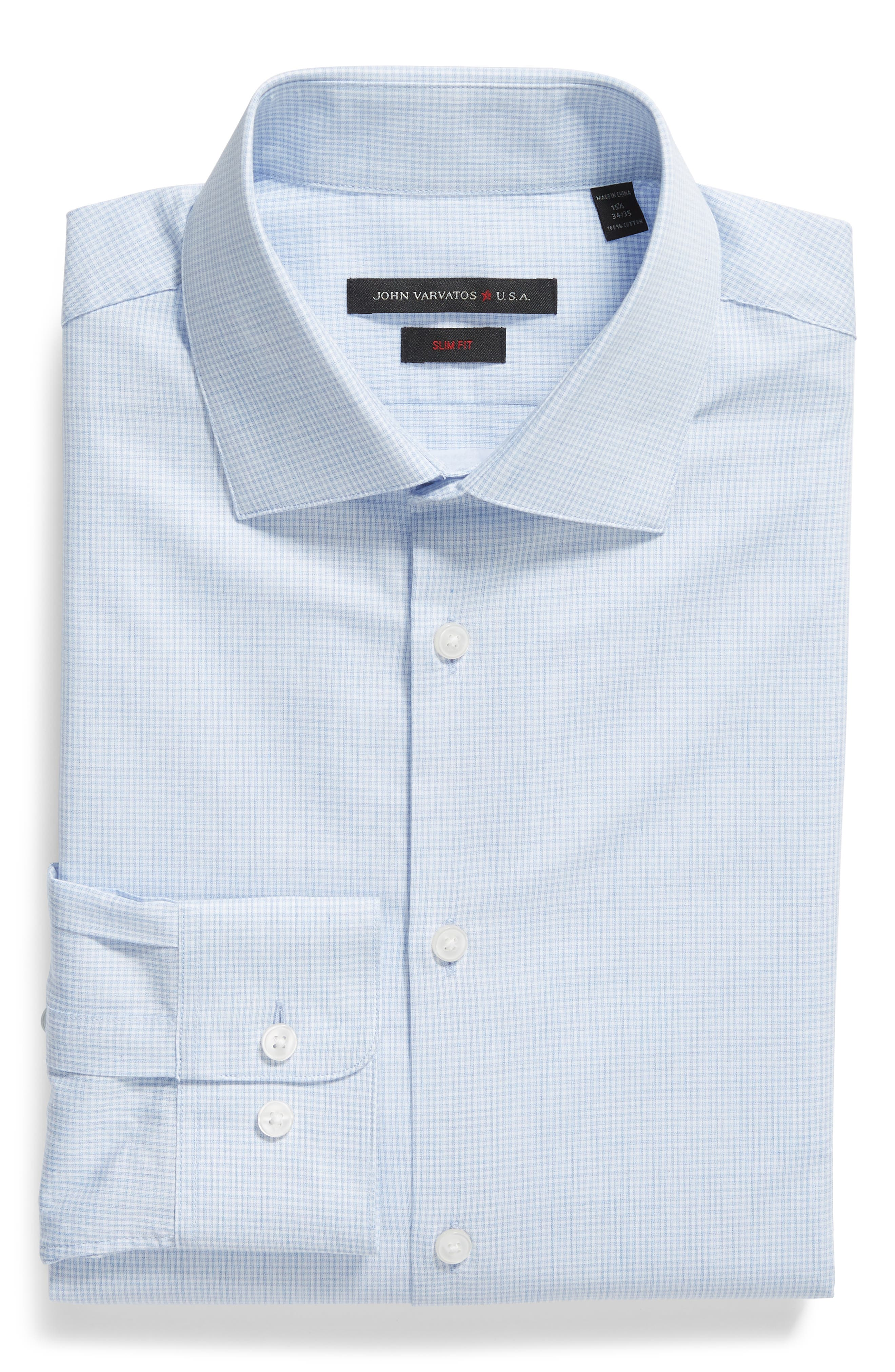Slim Fit Check Dress Shirt,                             Alternate thumbnail 5, color,                             LIGHT BLUE
