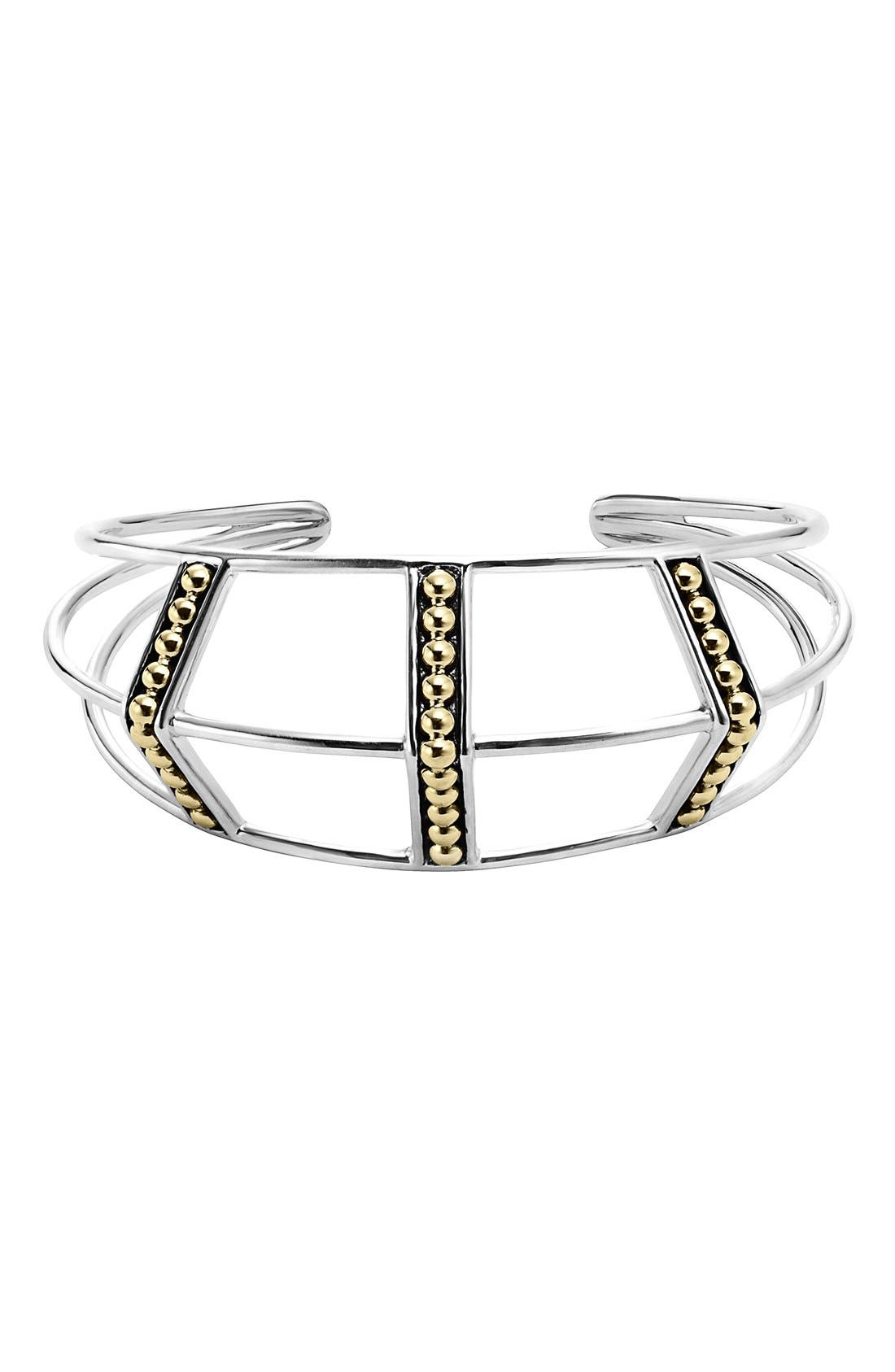 'KSL' Pyramid Wrist Cuff,                         Main,                         color, SILVER/ GOLD
