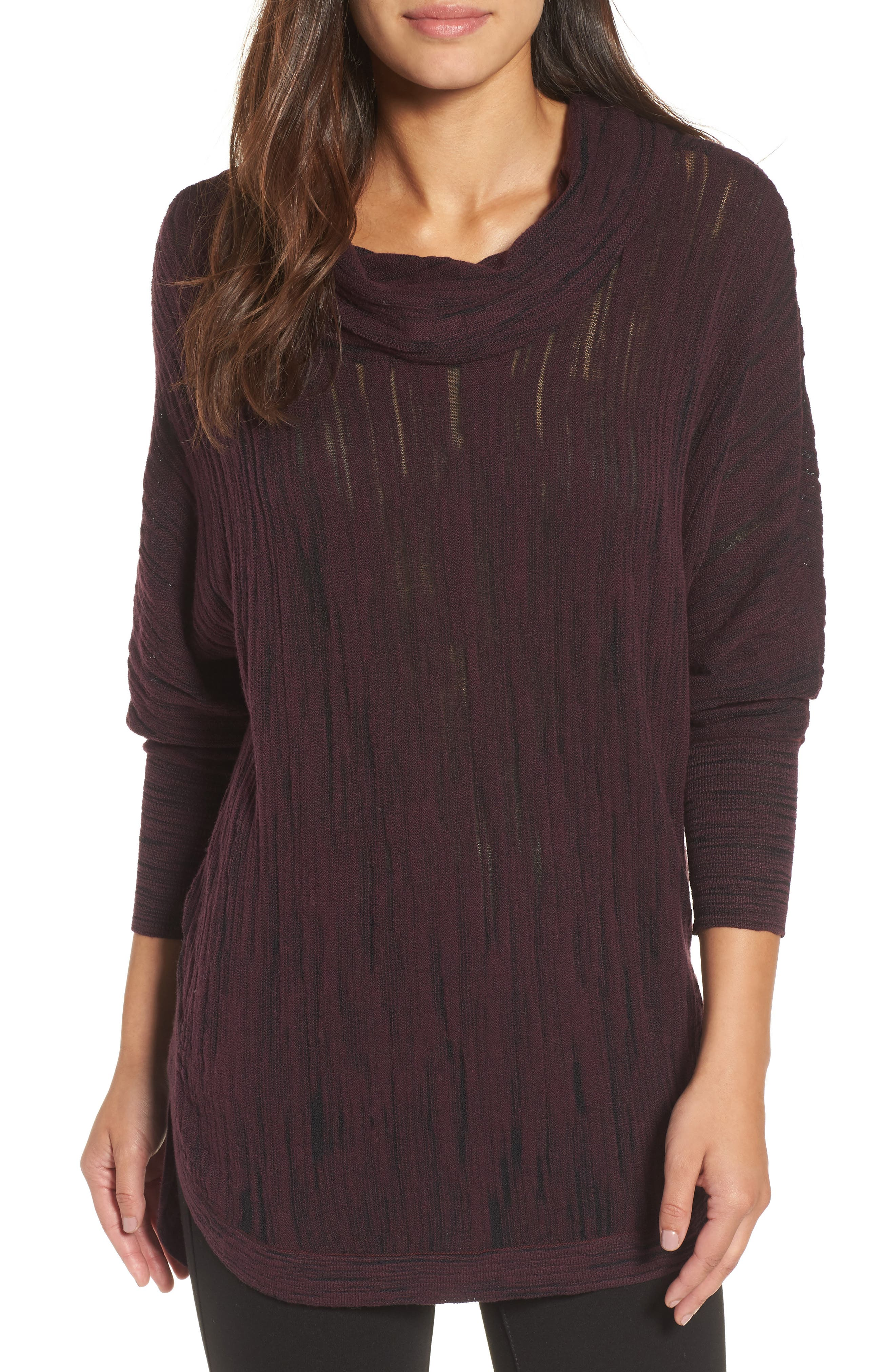 Cowl Neck Open Stitch Sweater,                         Main,                         color, WINE