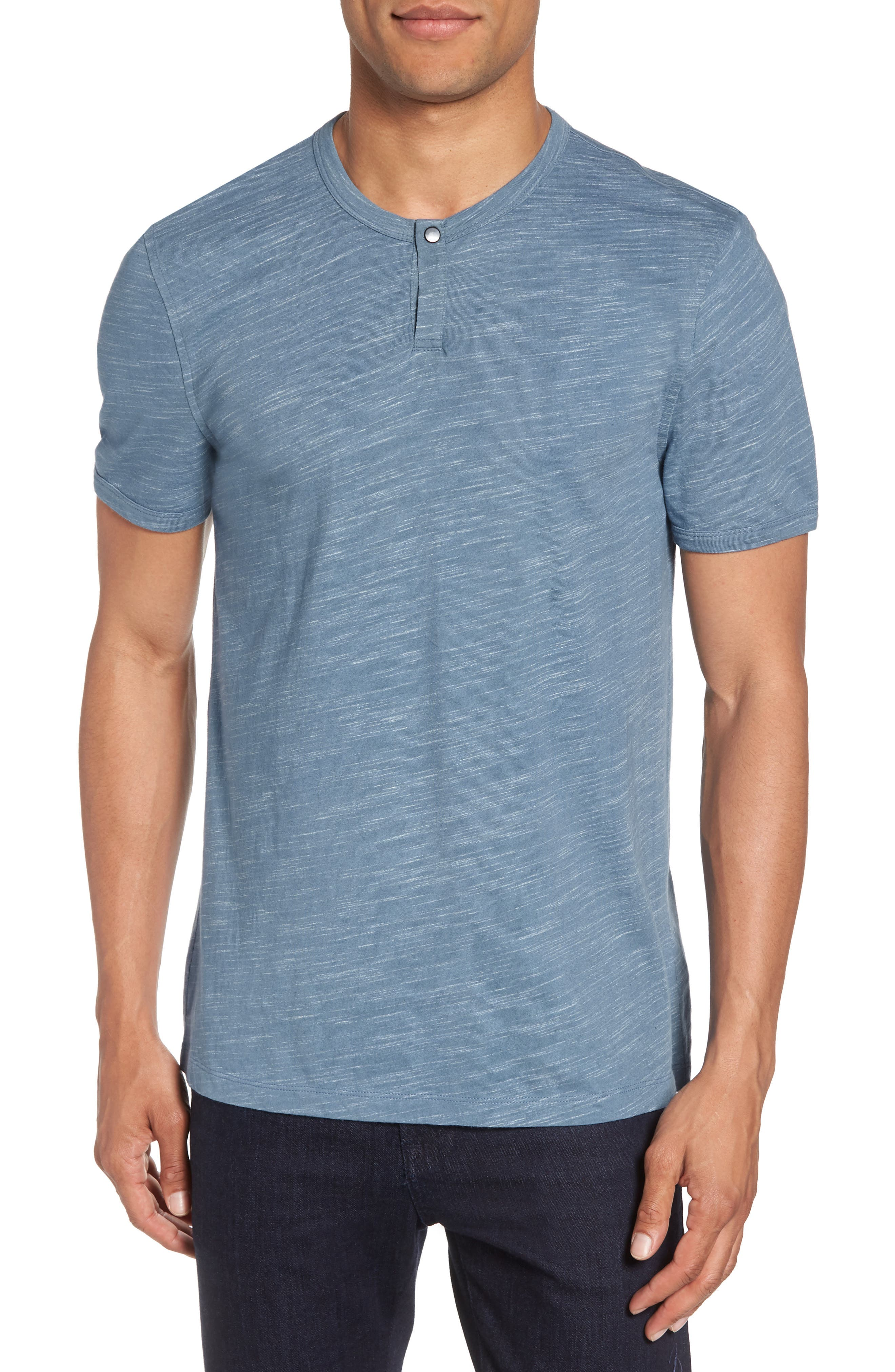 Space Dyed One-Button Henley T-Shirt,                             Main thumbnail 5, color,