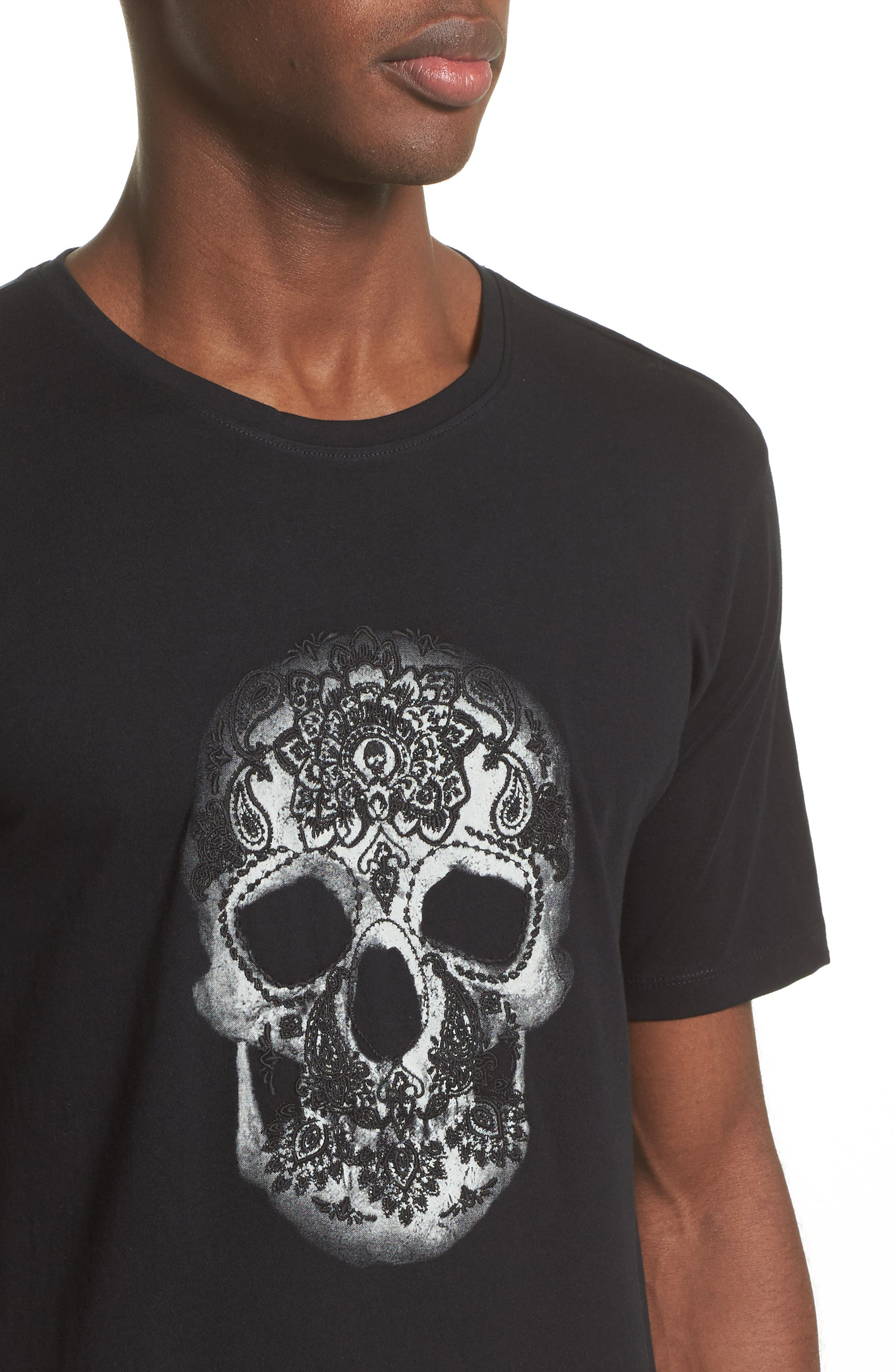 Embroidered Skull Graphic T-Shirt,                             Alternate thumbnail 4, color,                             001