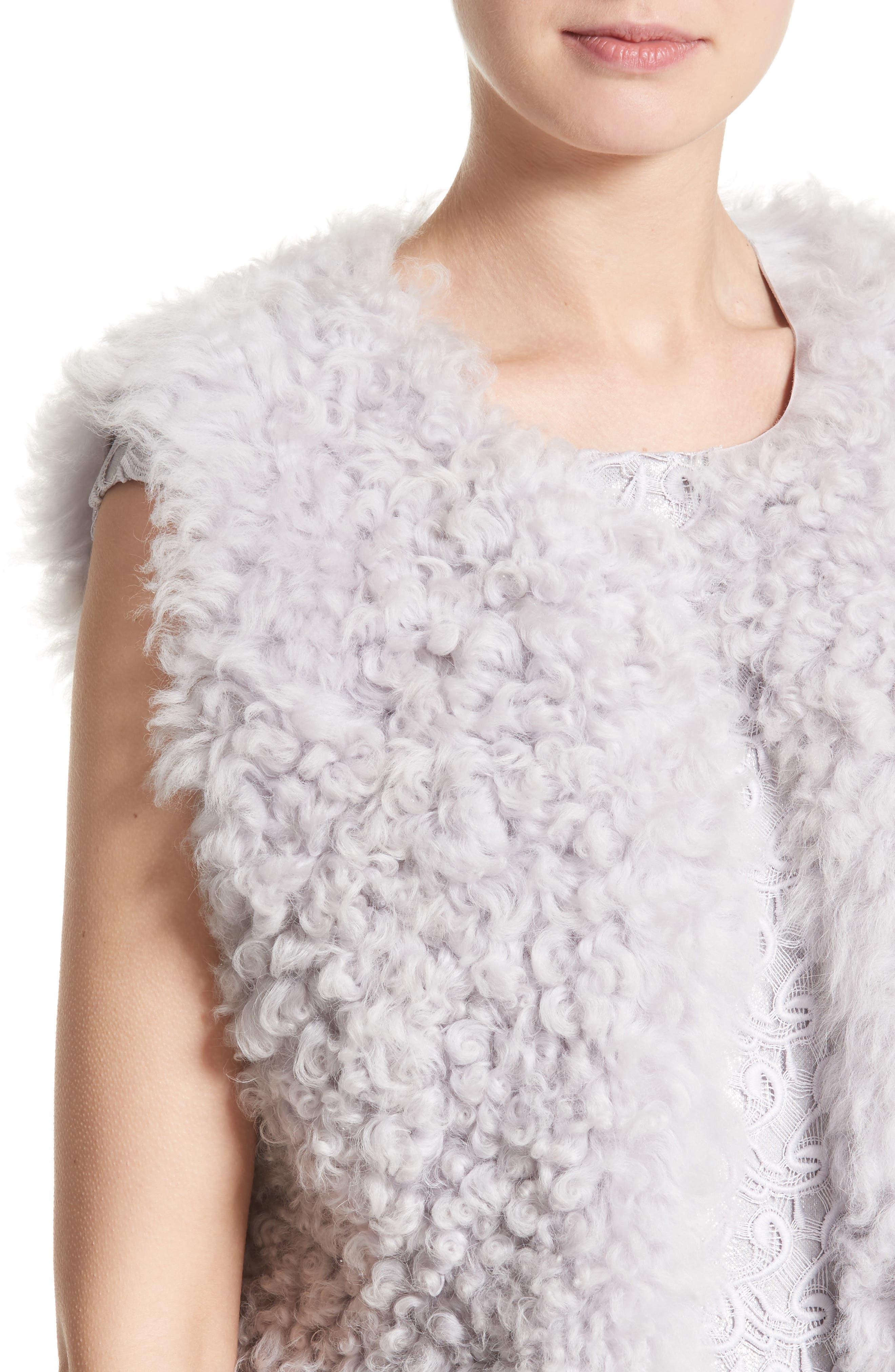 St John Collection Reversible Genuine Curly Lamb Fur Vest,                             Alternate thumbnail 5, color,                             500