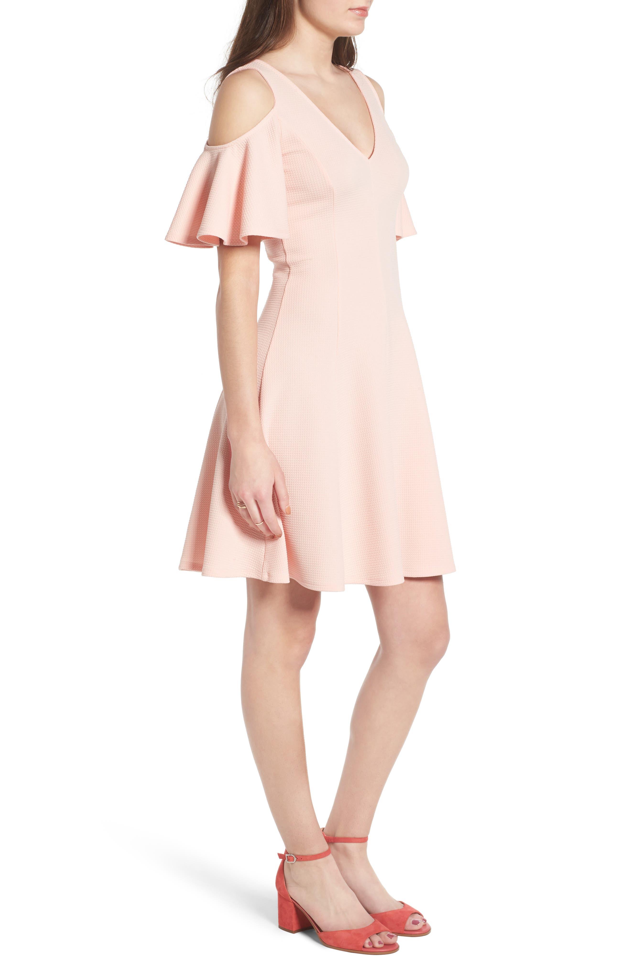 Cold Shoulder Dress,                             Alternate thumbnail 3, color,                             650