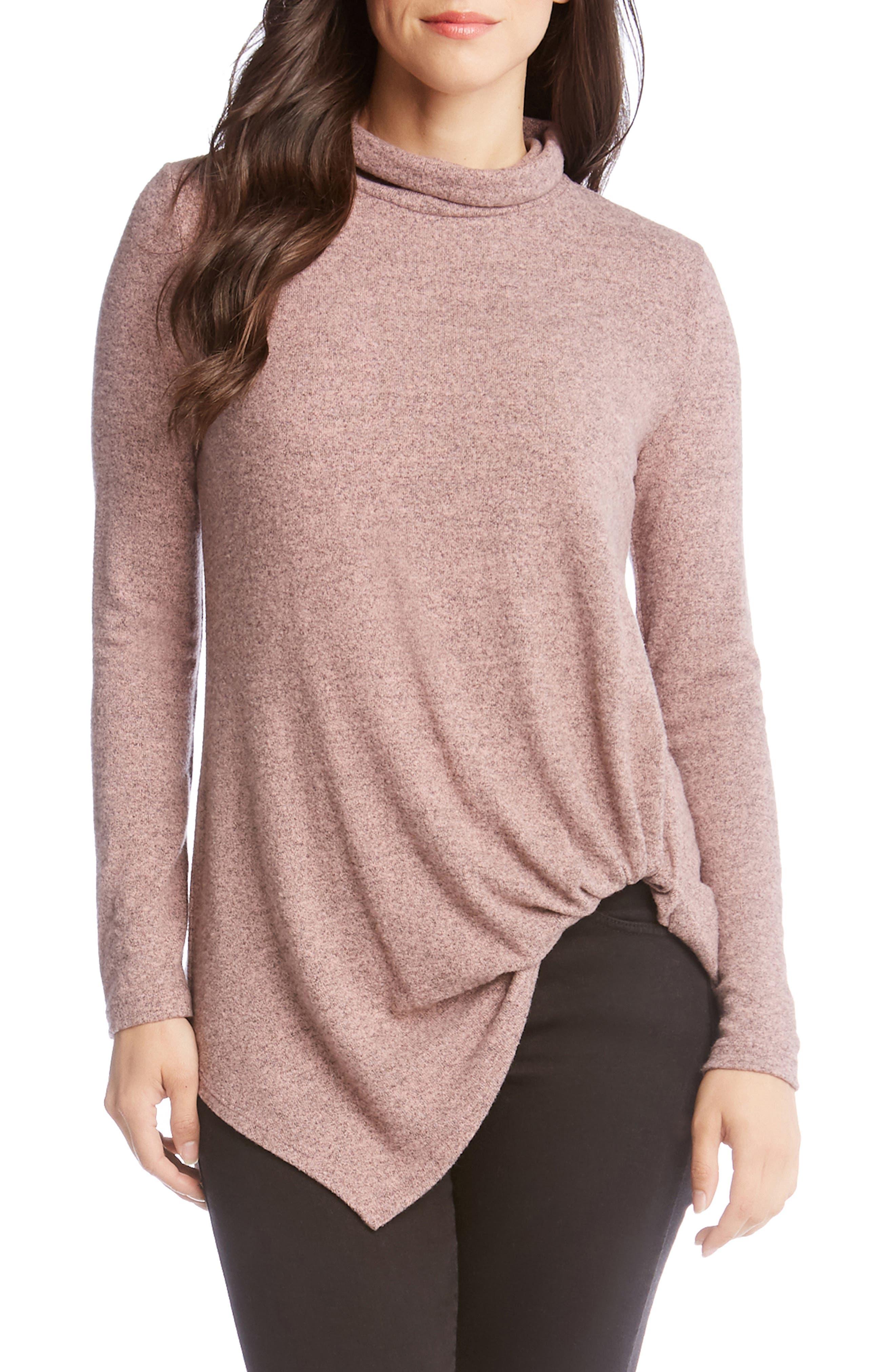 Karen Kane Asymmetrical Turtleneck Sweater, Pink