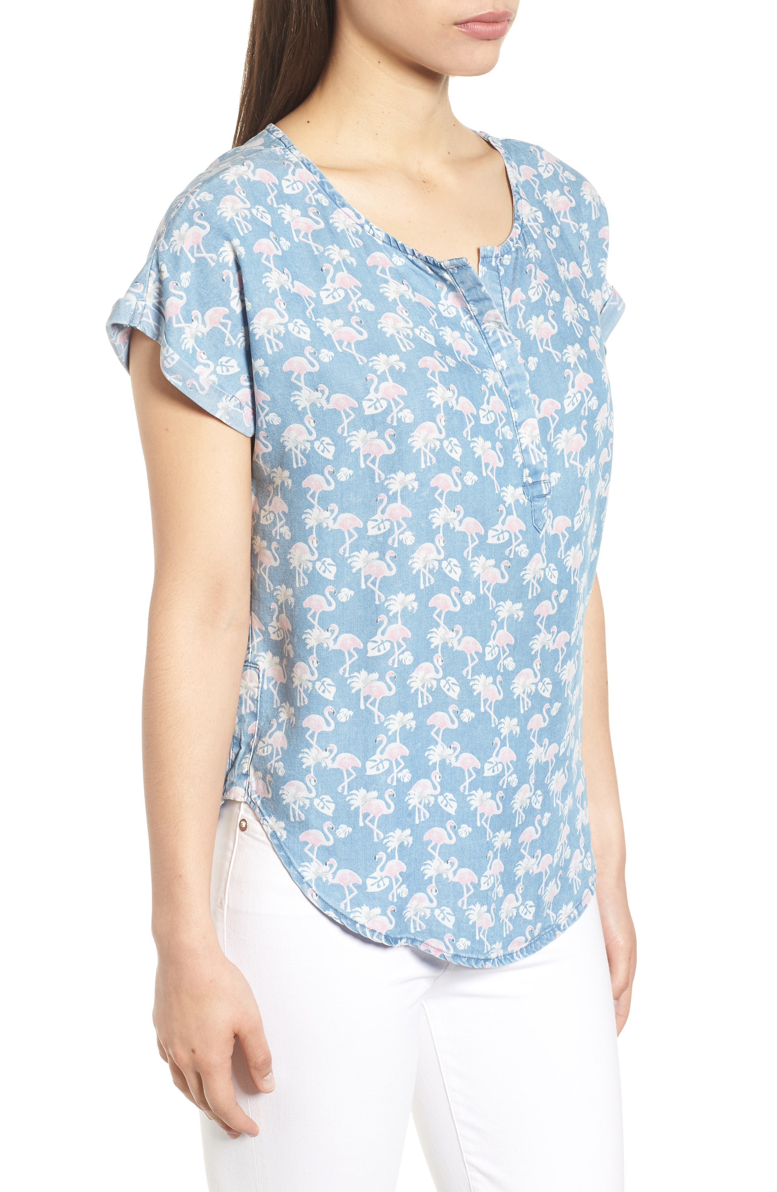 Flamingo Lace-Up Back Popover Top,                             Alternate thumbnail 3, color,                             422
