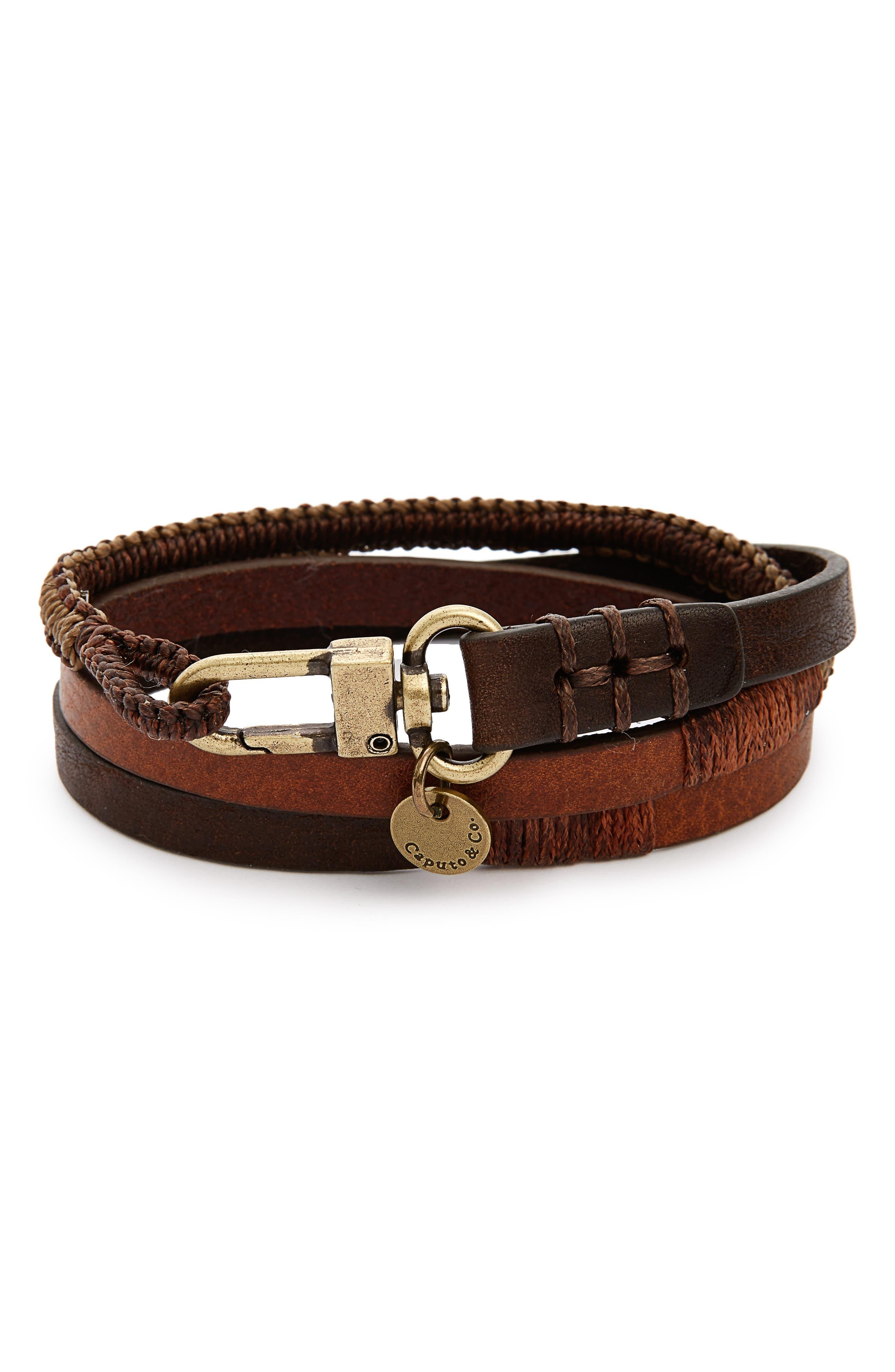 Leather Wrap Bracelet,                         Main,                         color, 200