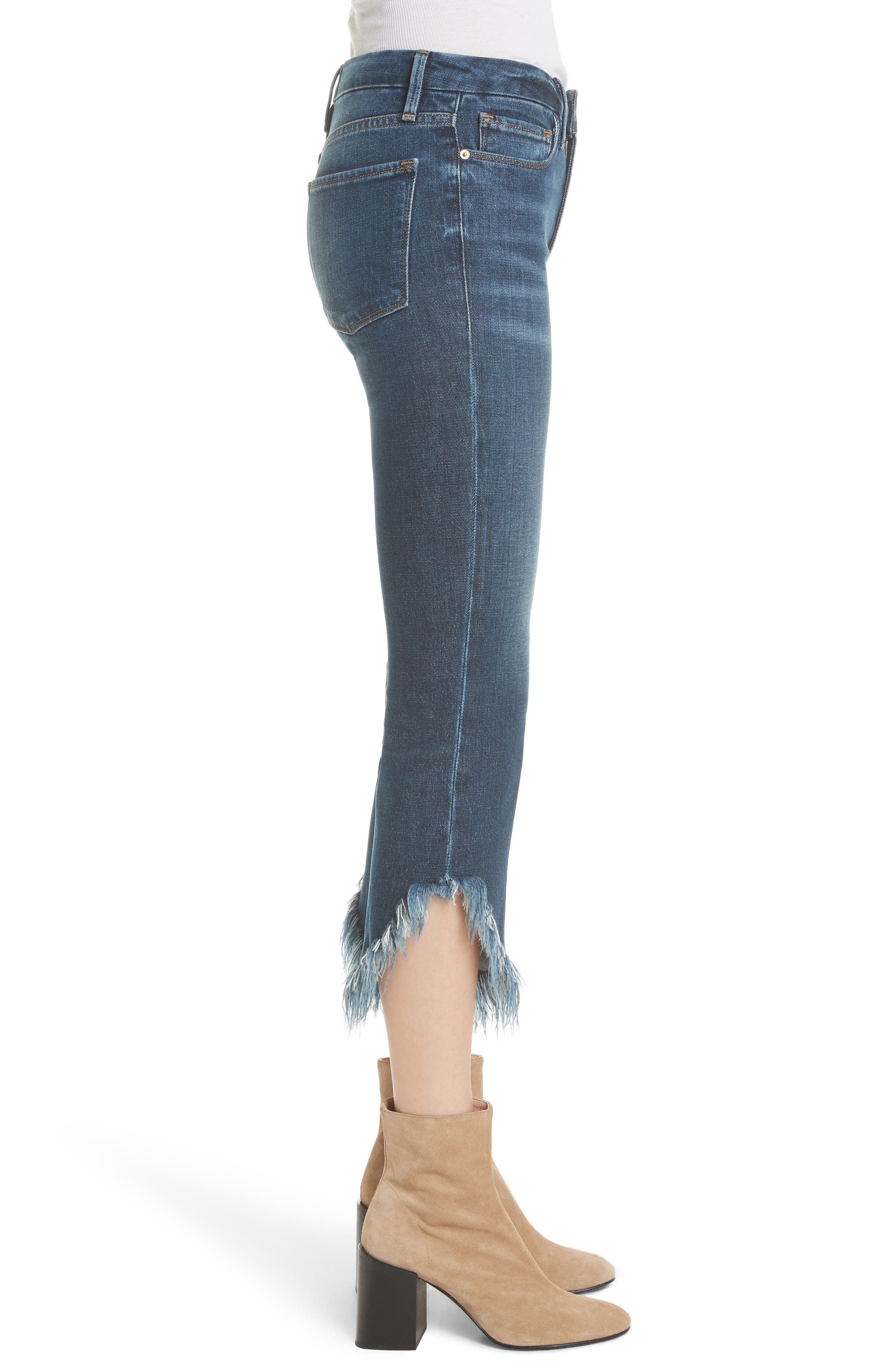 Le Crop Mini Boot Shredded Crop Hem Jeans,                             Alternate thumbnail 3, color,                             BAYBERRY
