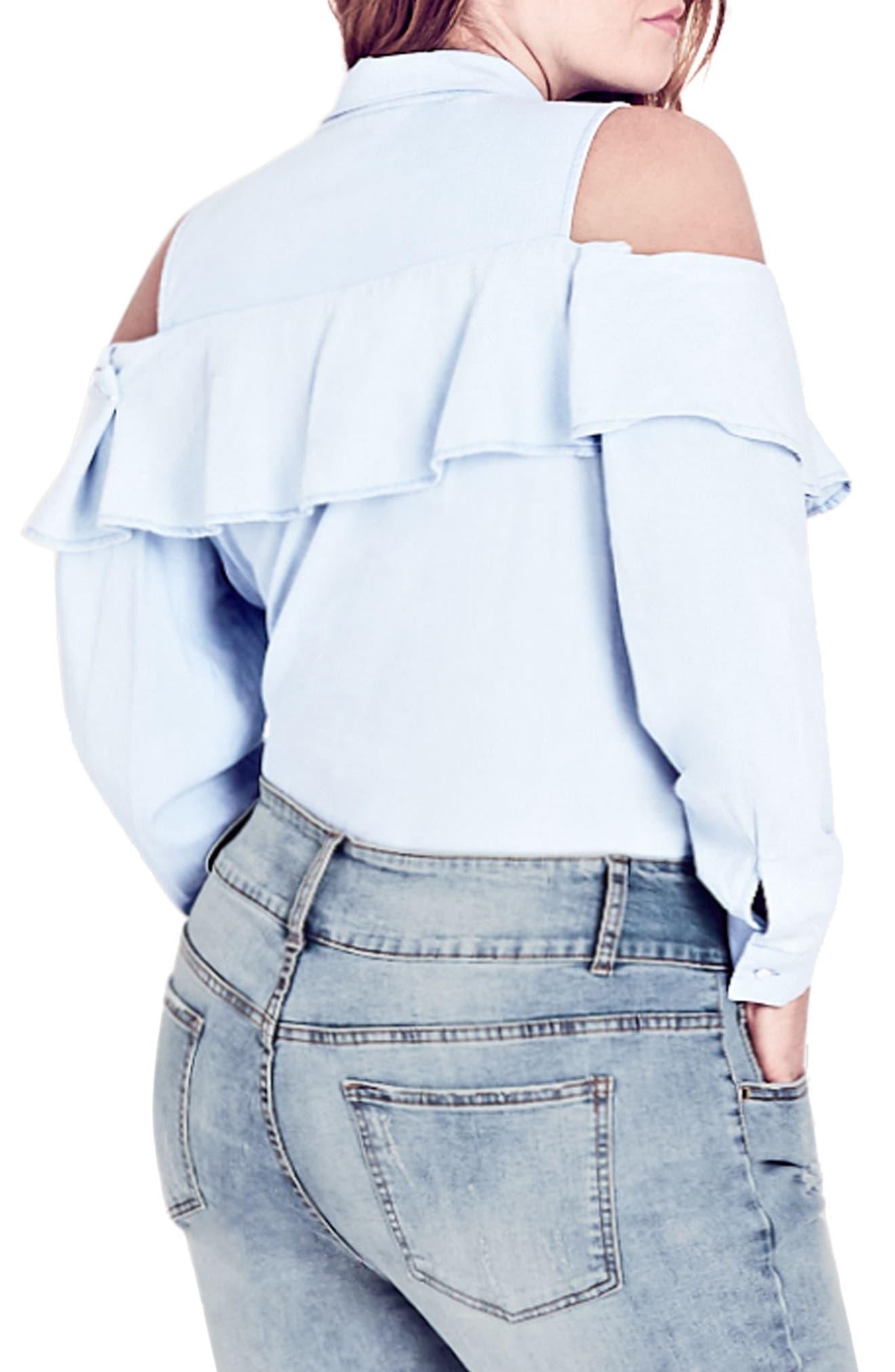 Denim Frill Shirt,                             Alternate thumbnail 2, color,                             LIGHT DENIM