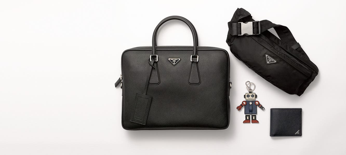 Prada designer shoes and accessories for men.