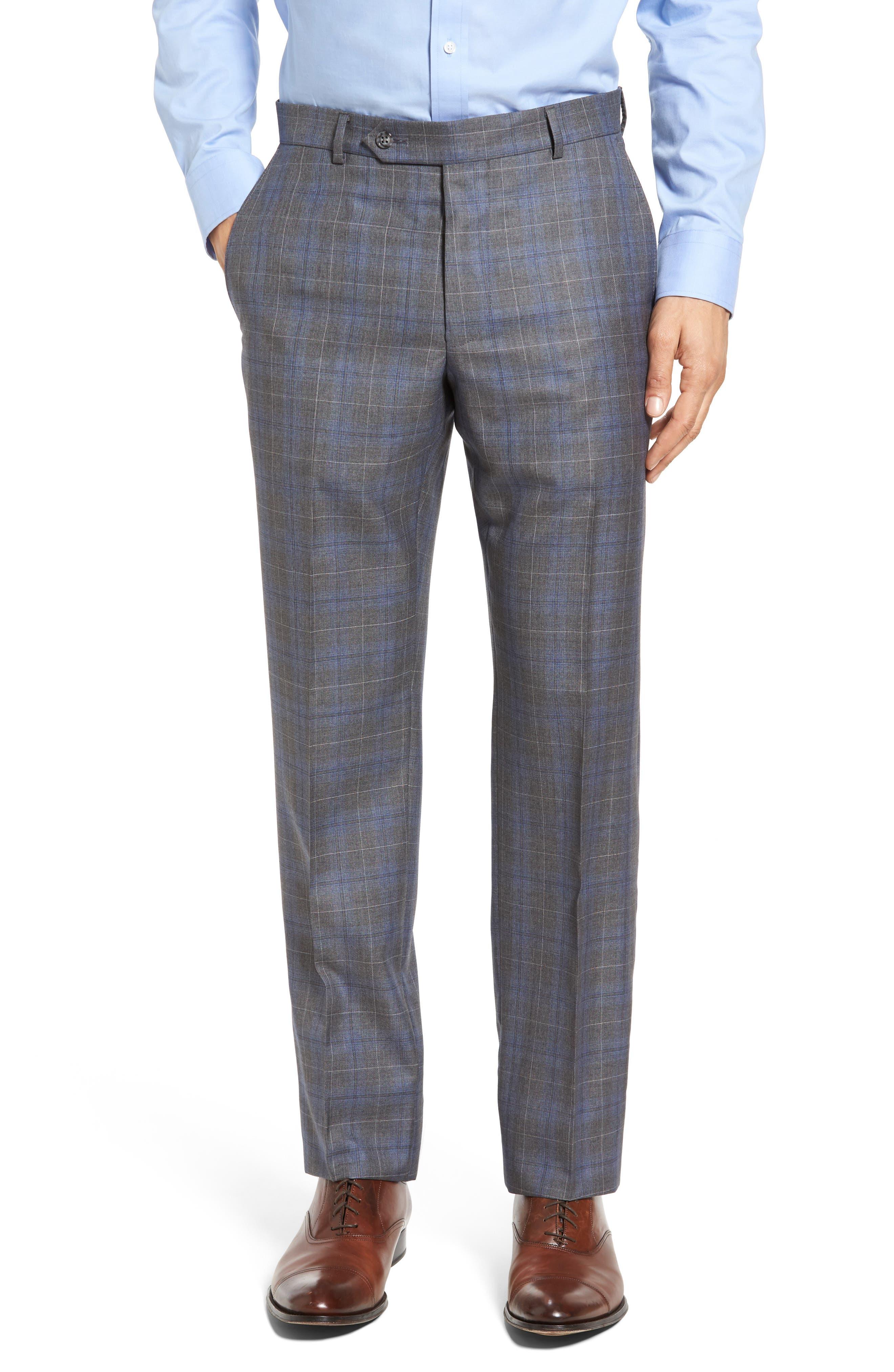 Classic Fit Plaid Wool & Silk Suit,                             Alternate thumbnail 6, color,