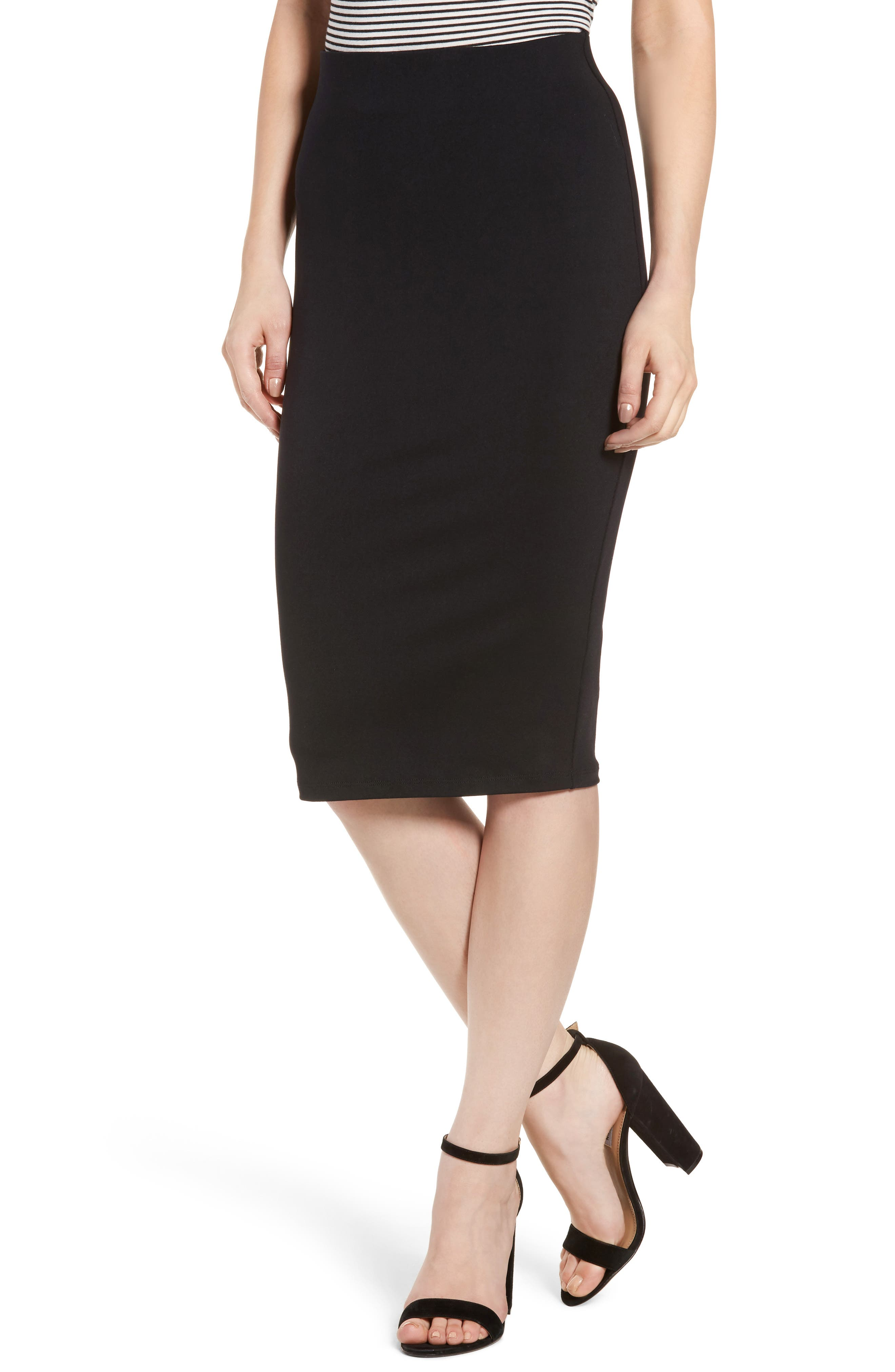 Tube High Rise Pencil Skirt,                             Main thumbnail 1, color,                             BLACK
