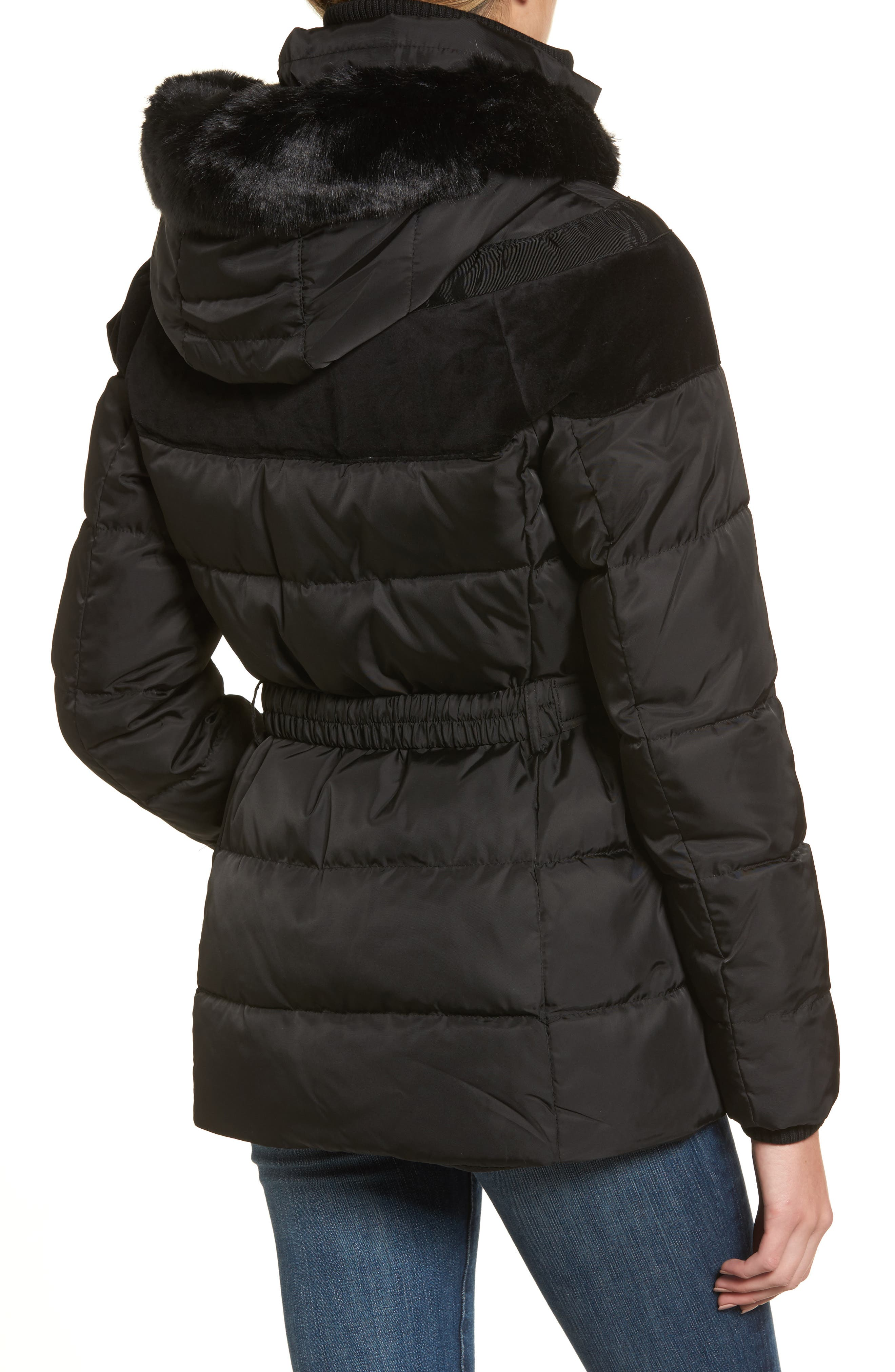 Belted Down & Feather Fill Coat with Faux Fur Trim Hood,                             Alternate thumbnail 5, color,