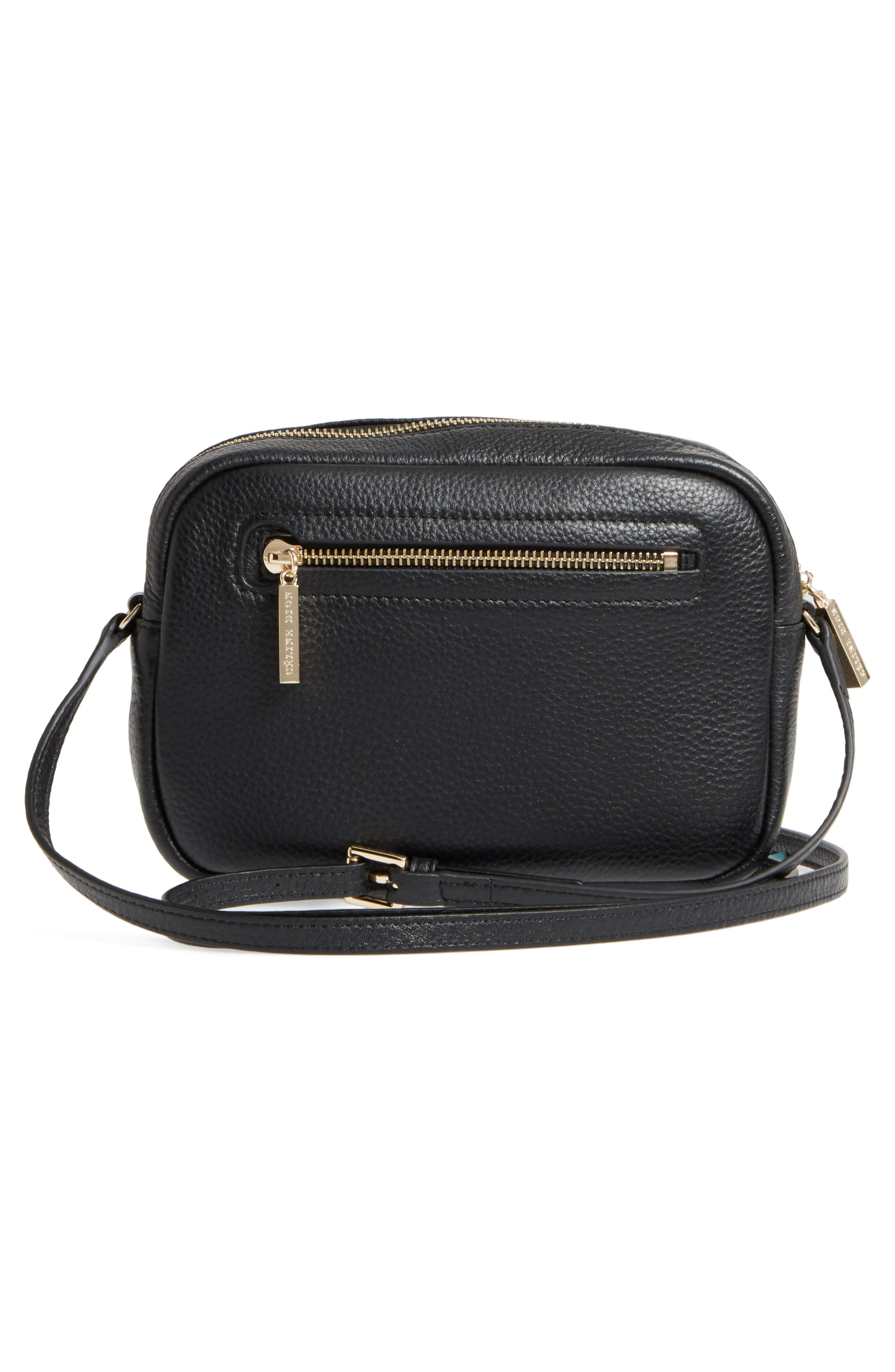 Céline Dion Adagio Leather Camera Crossbody Bag,                             Alternate thumbnail 3, color,                             001