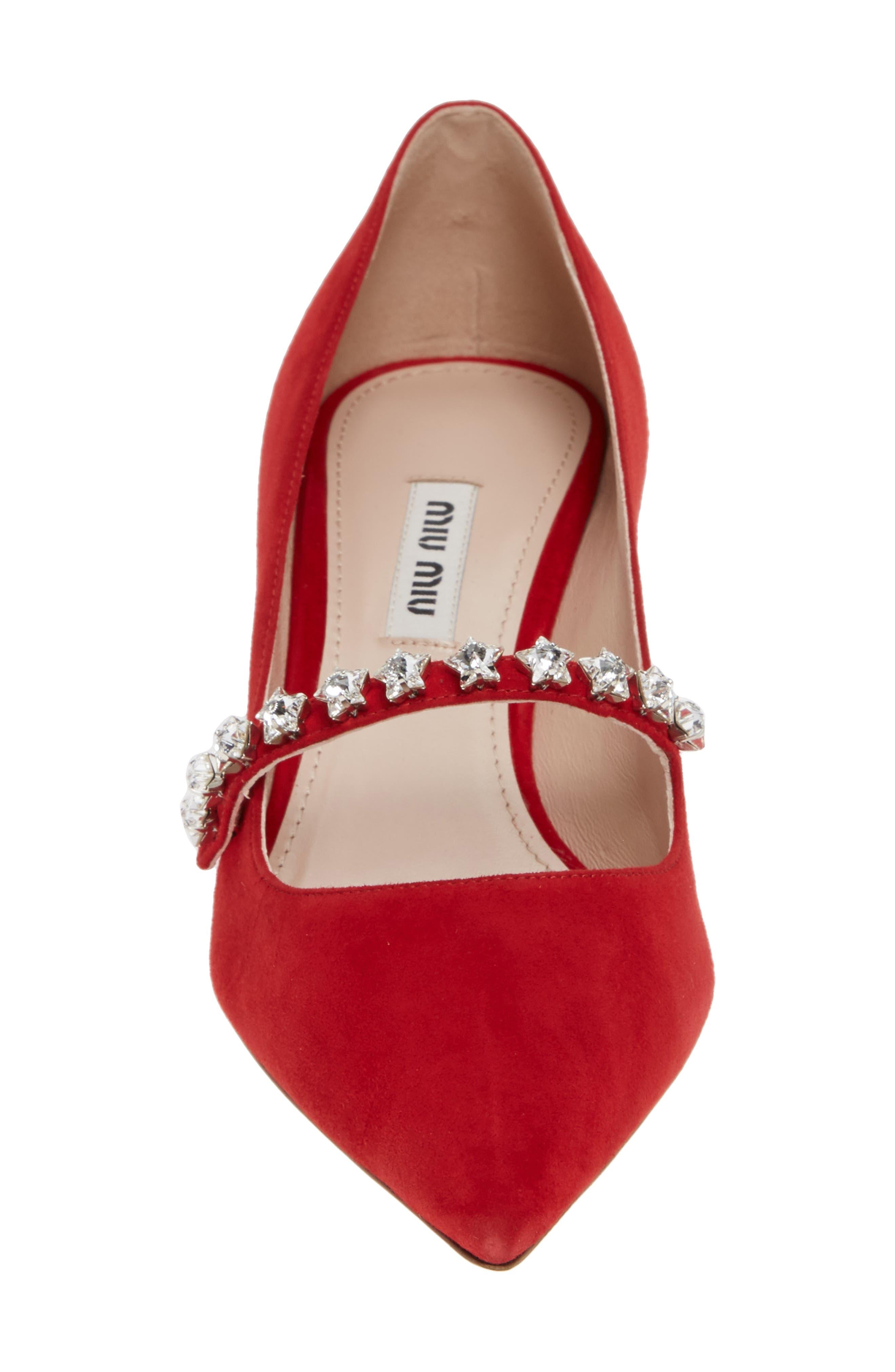 MIU MIU,                             Jewel Star Mary Jane Pump,                             Alternate thumbnail 4, color,                             RED SUEDE