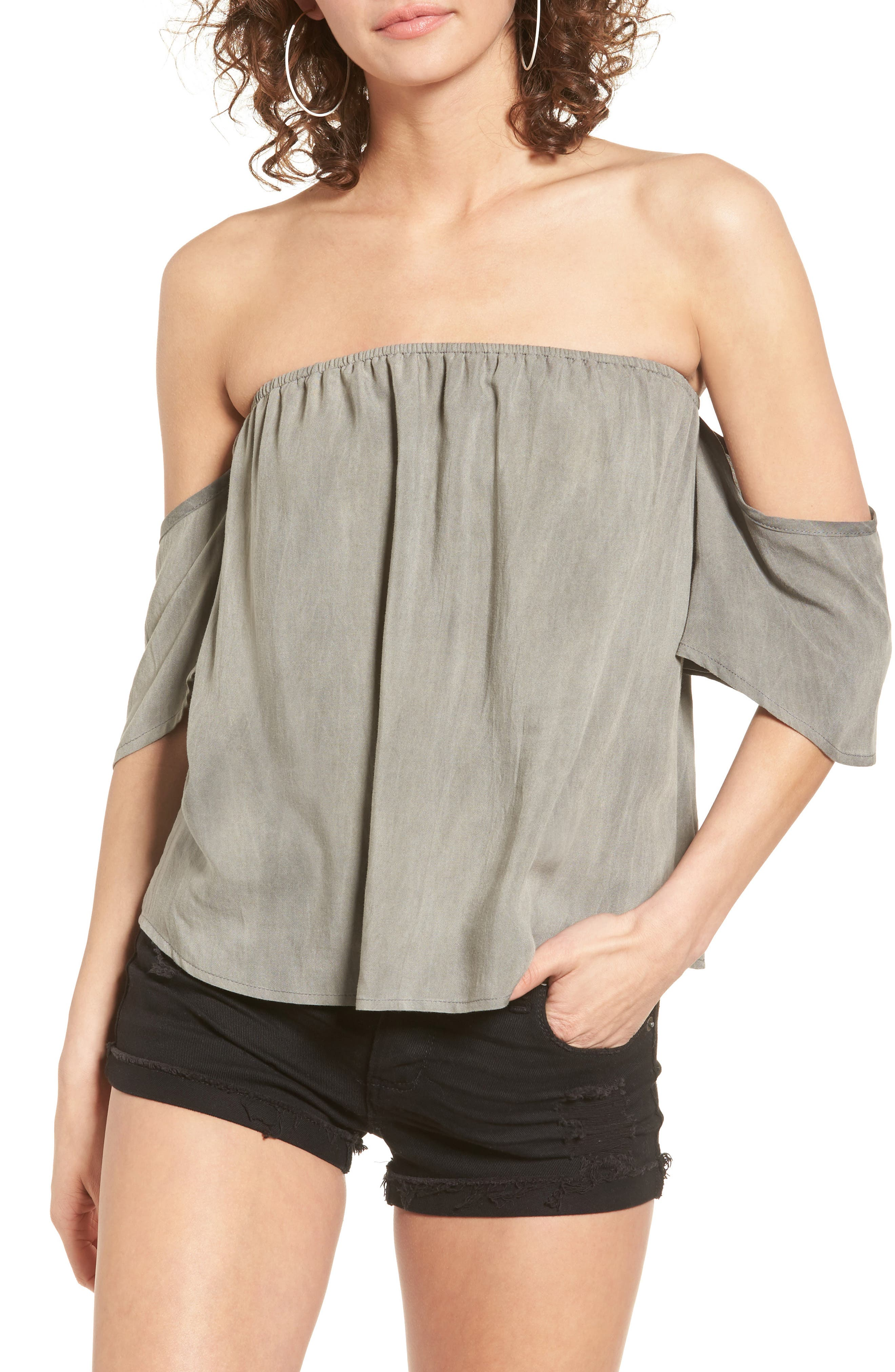 Off the Shoulder Washed Top,                             Main thumbnail 1, color,                             030