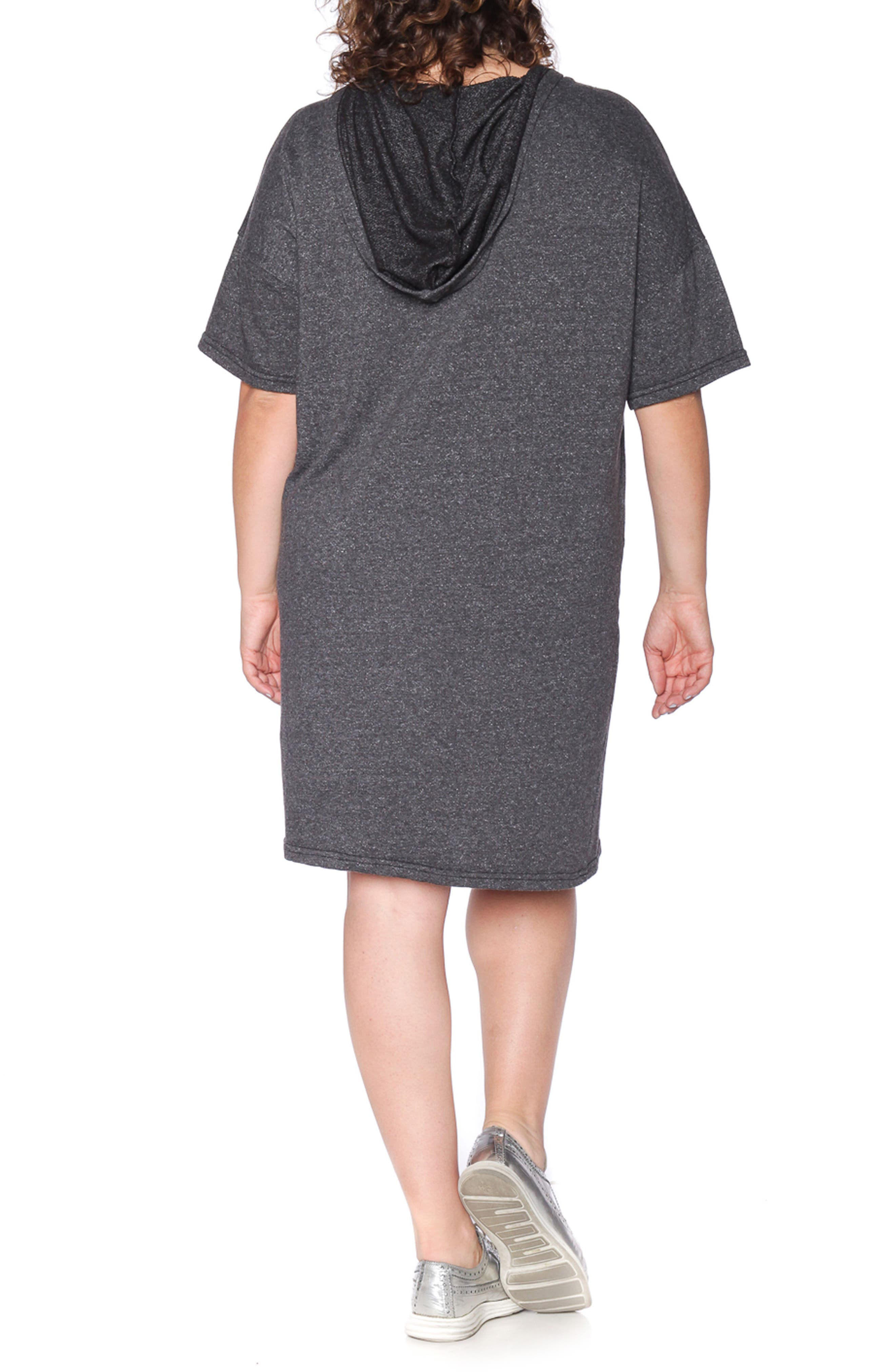Lace-Up Hoodie Dress,                             Alternate thumbnail 2, color,                             018