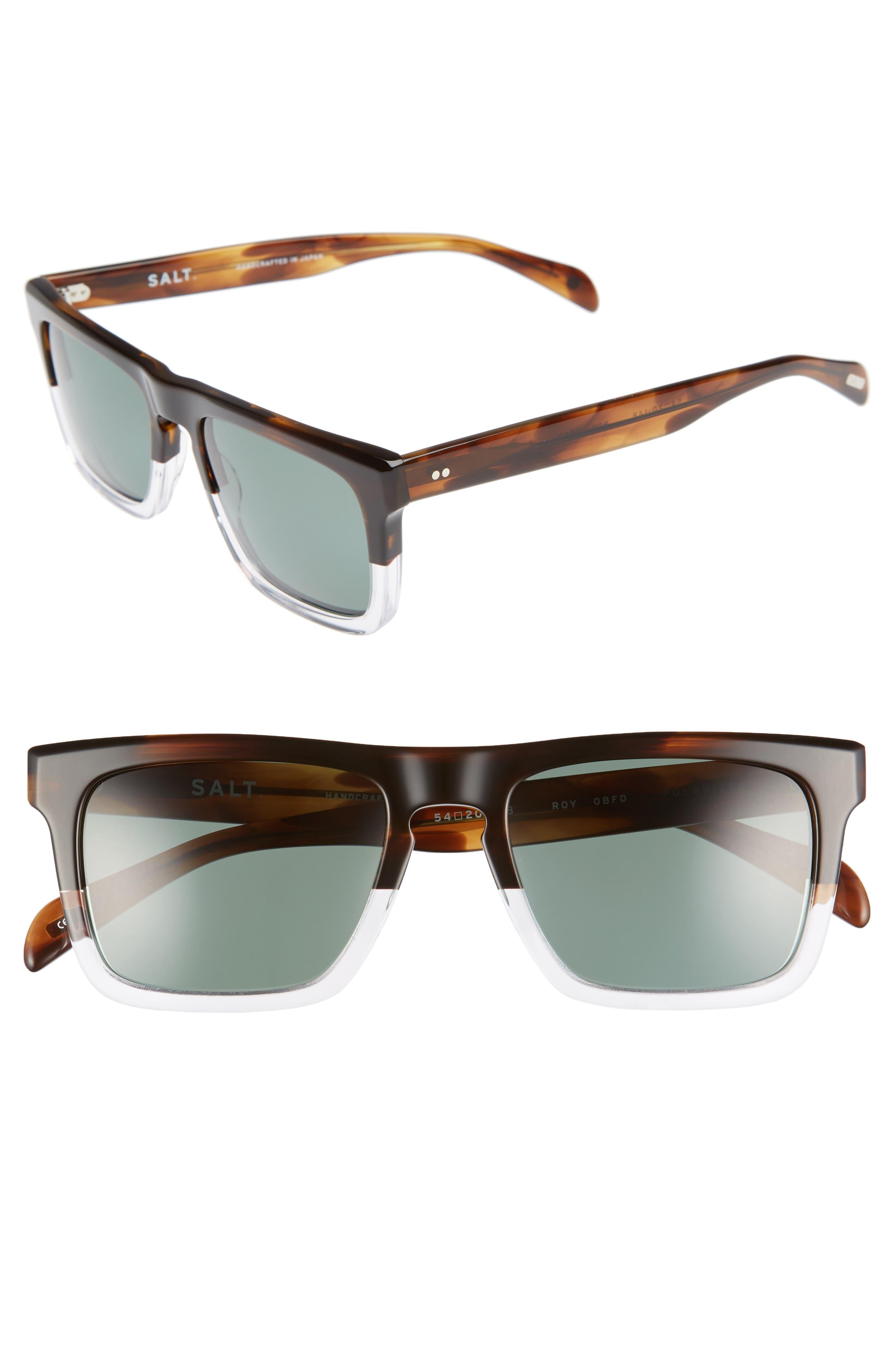 Roy 54mm Polarized Sunglasses,                         Main,                         color, OILED BARK FADE