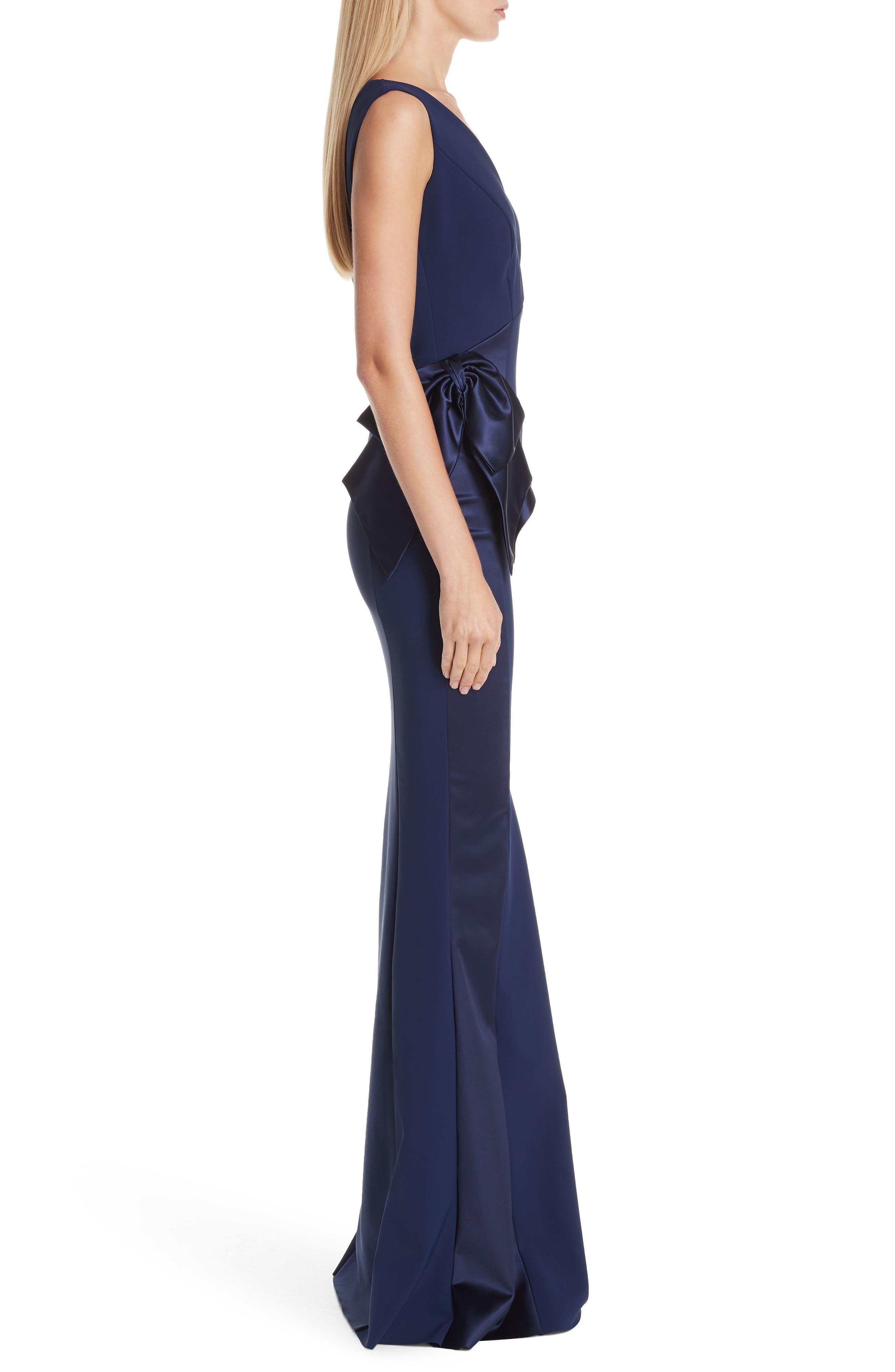 Macaria Satin Bow Trumpet Gown,                             Alternate thumbnail 3, color,                             BLUE NOTTE