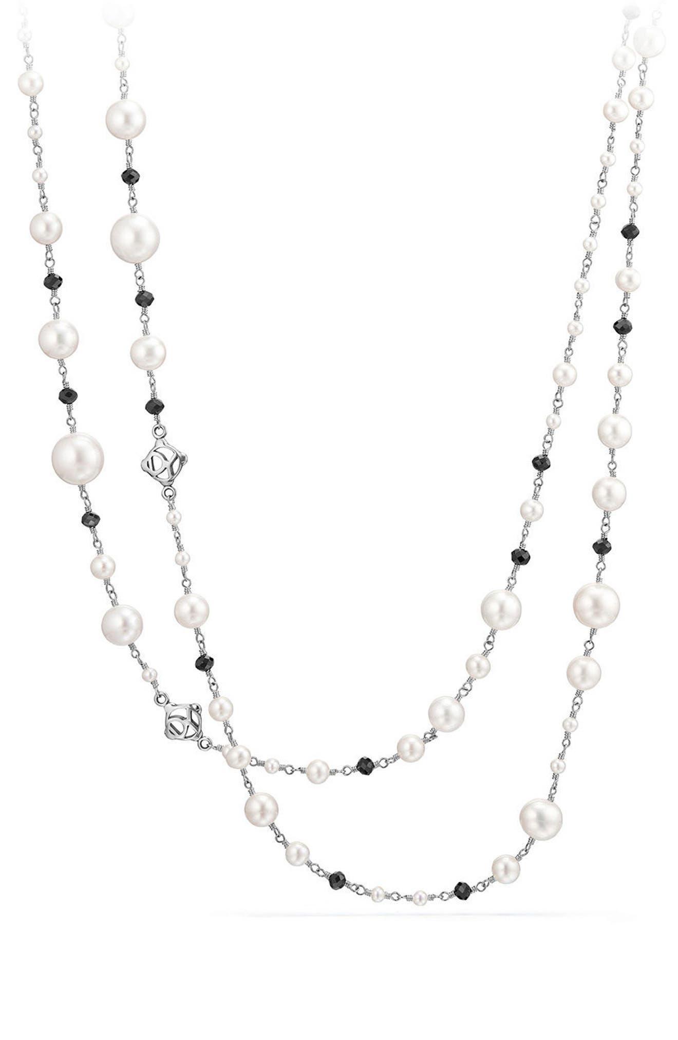 Solari Pearl & Bead Necklace,                         Main,                         color, PEARL/ BLACK SPINEL