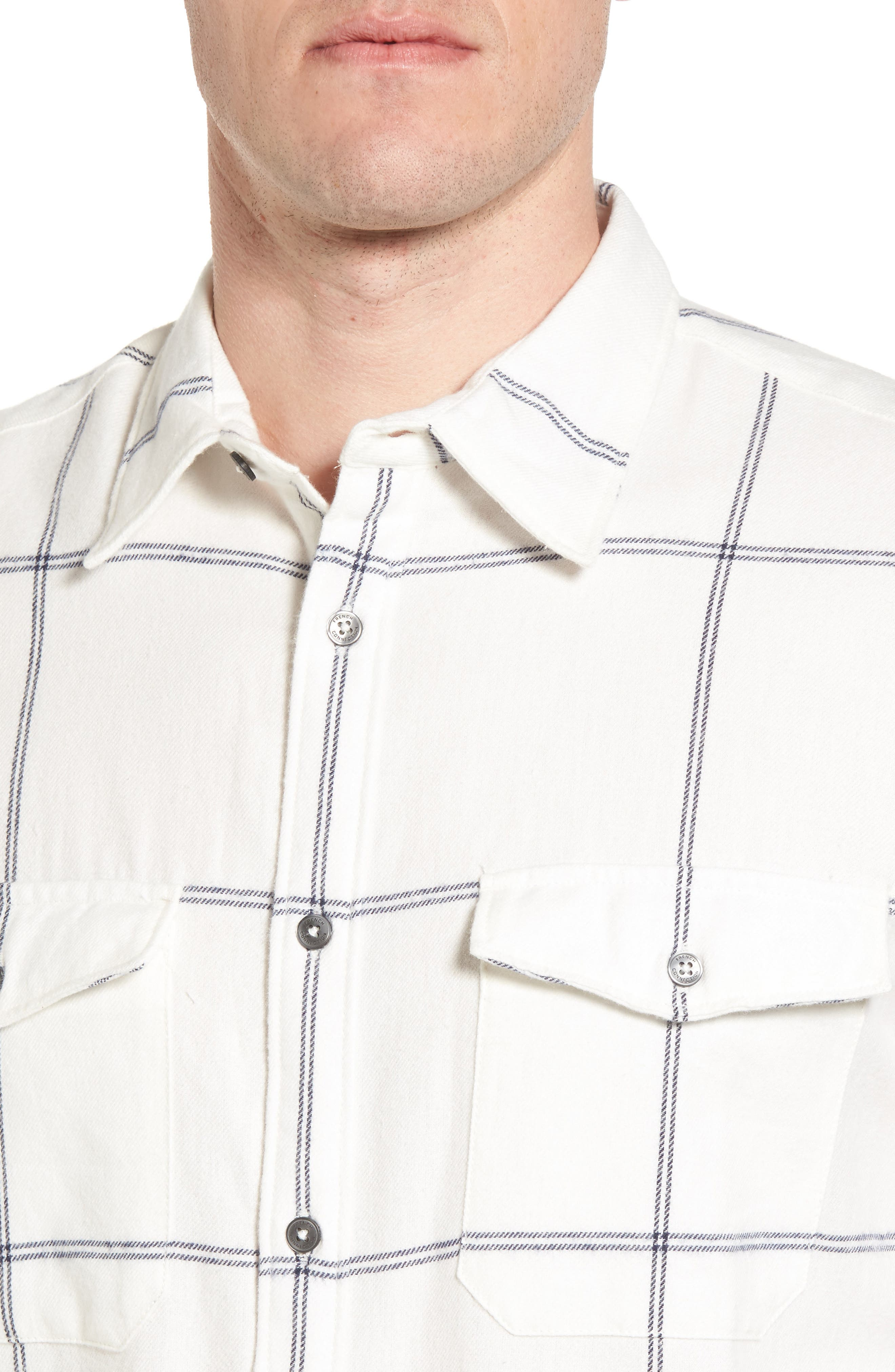 Regular Fit Windowpane Flannel Sport Shirt,                             Alternate thumbnail 4, color,                             900