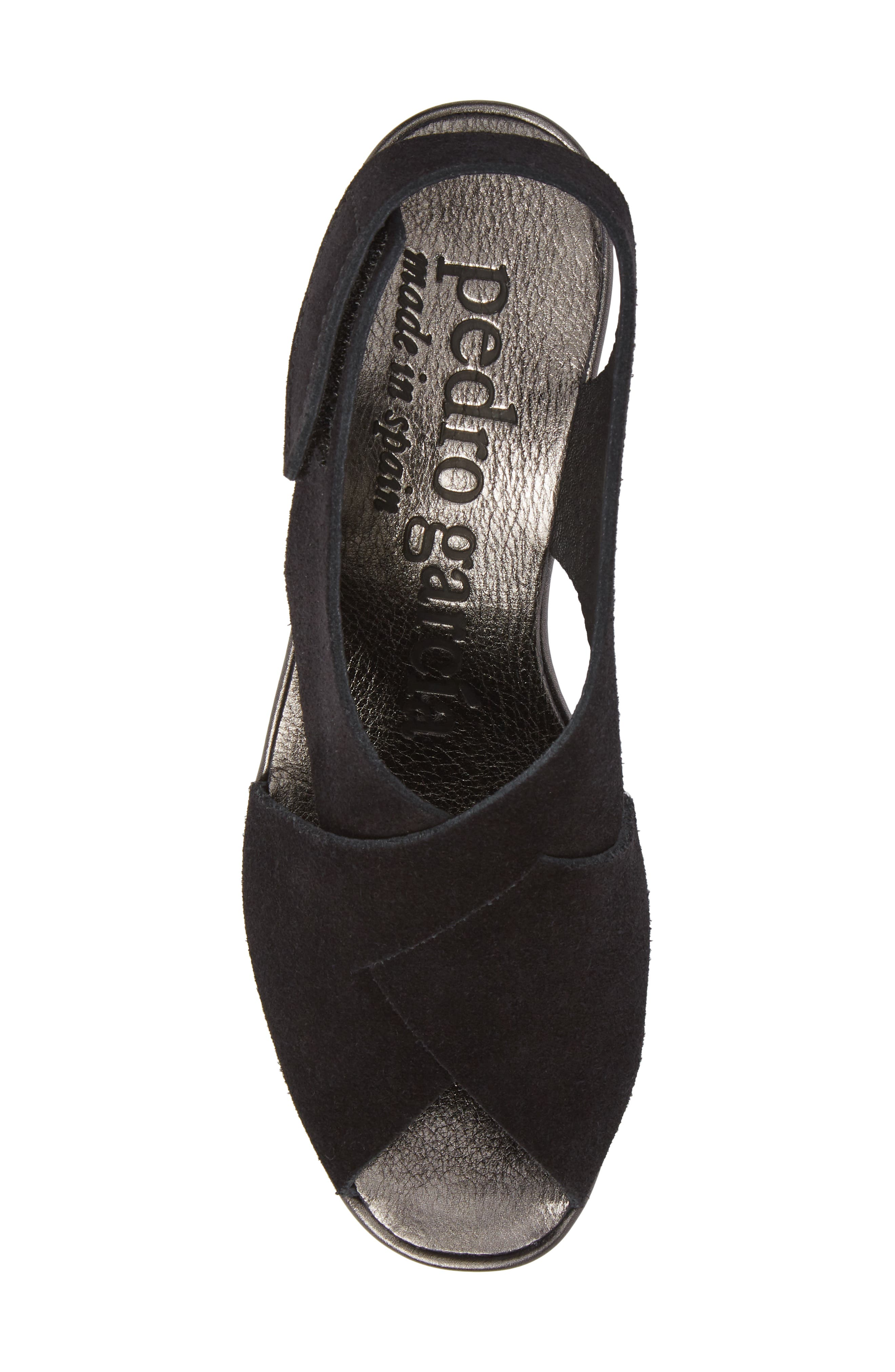 Fayre Cross Strap Wedge Sandal,                             Alternate thumbnail 5, color,                             BLACK