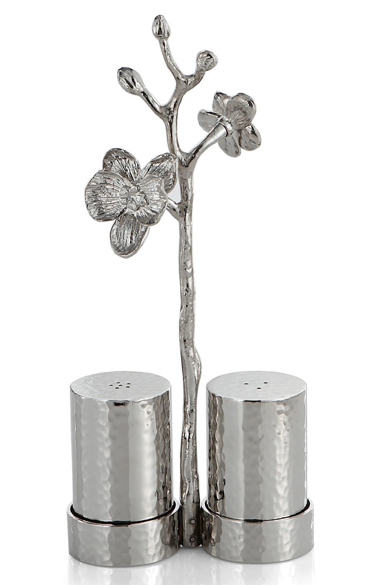 White Orchid Salt & Pepper Shakers,                             Main thumbnail 1, color,                             WHITE