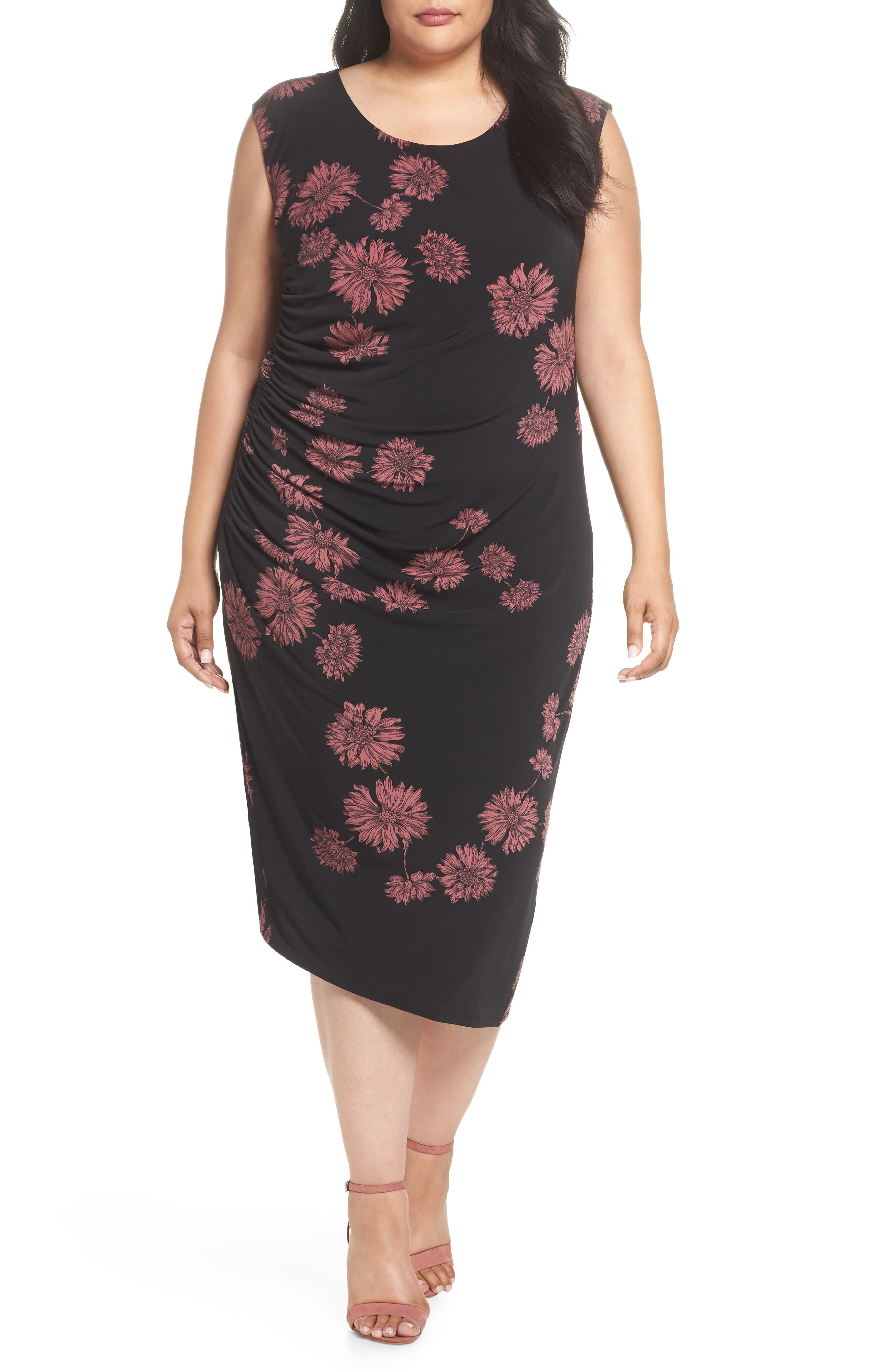 Chateau Floral Side Ruched Body-Con Dress,                         Main,                         color, RICH BLACK