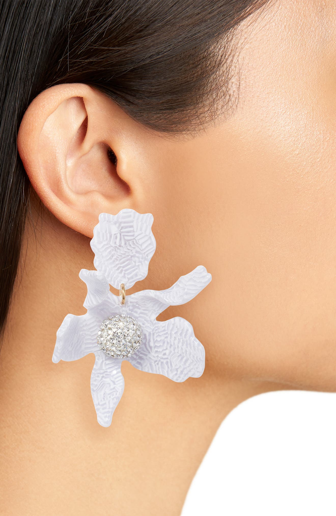 Crystal Lily Clip Earrings,                             Alternate thumbnail 2, color,                             100
