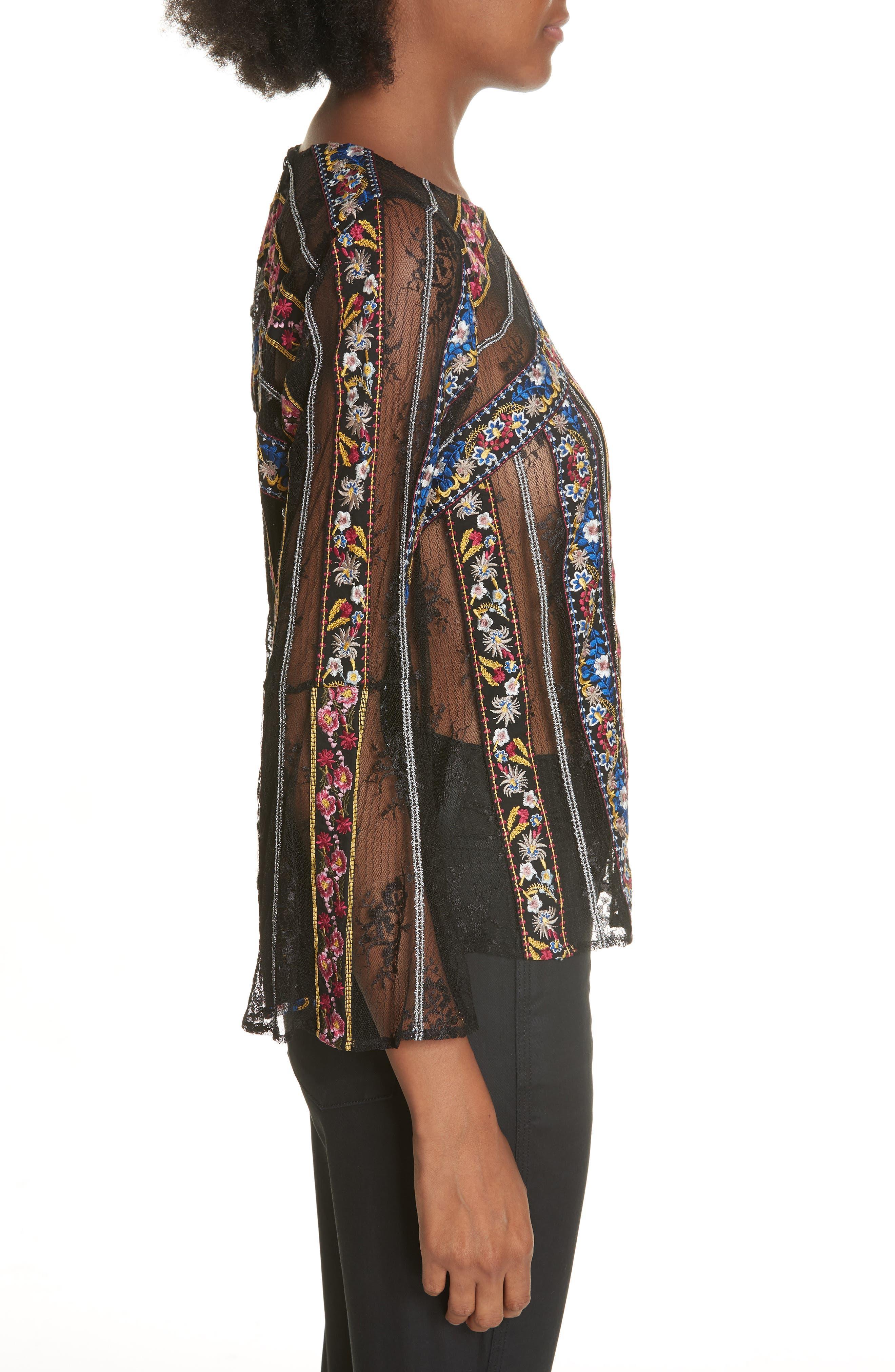 Larue Embroidered Blouse,                             Alternate thumbnail 3, color,                             BLACK/ MULTI