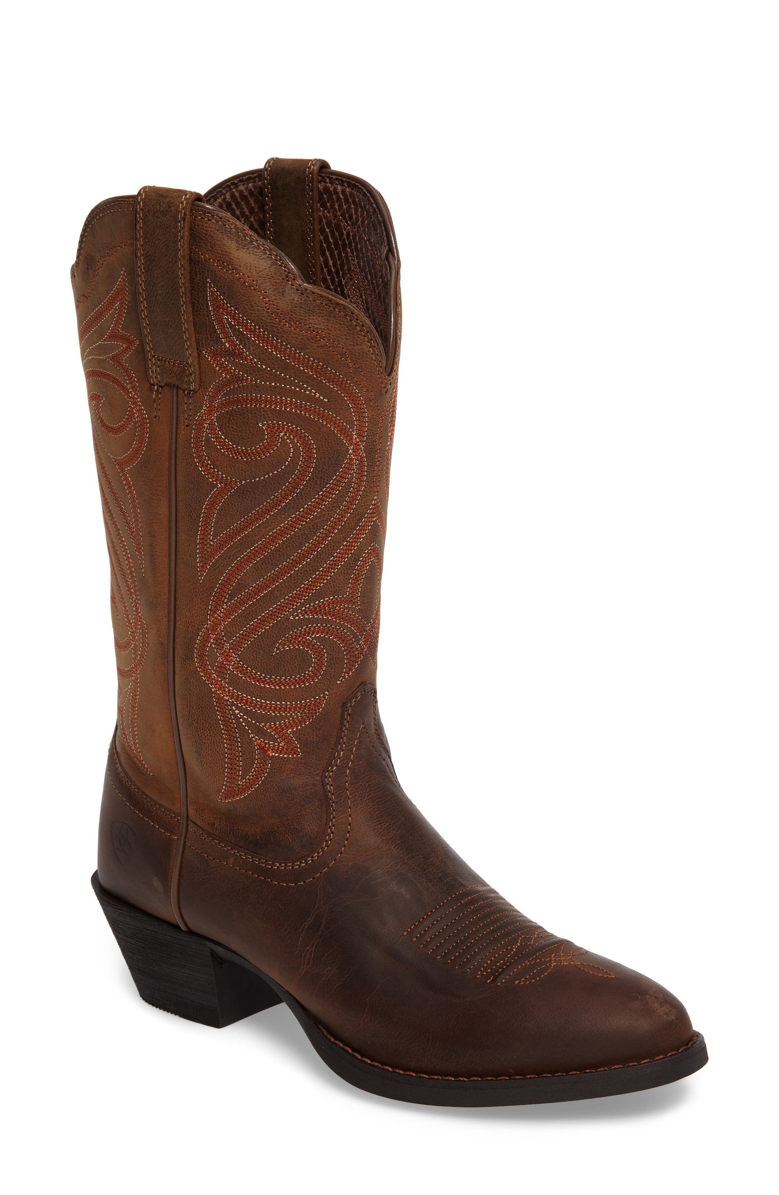 Round Up R-Toe Western Boot,                             Main thumbnail 1, color,                             DARK TOFFEE LEATHER