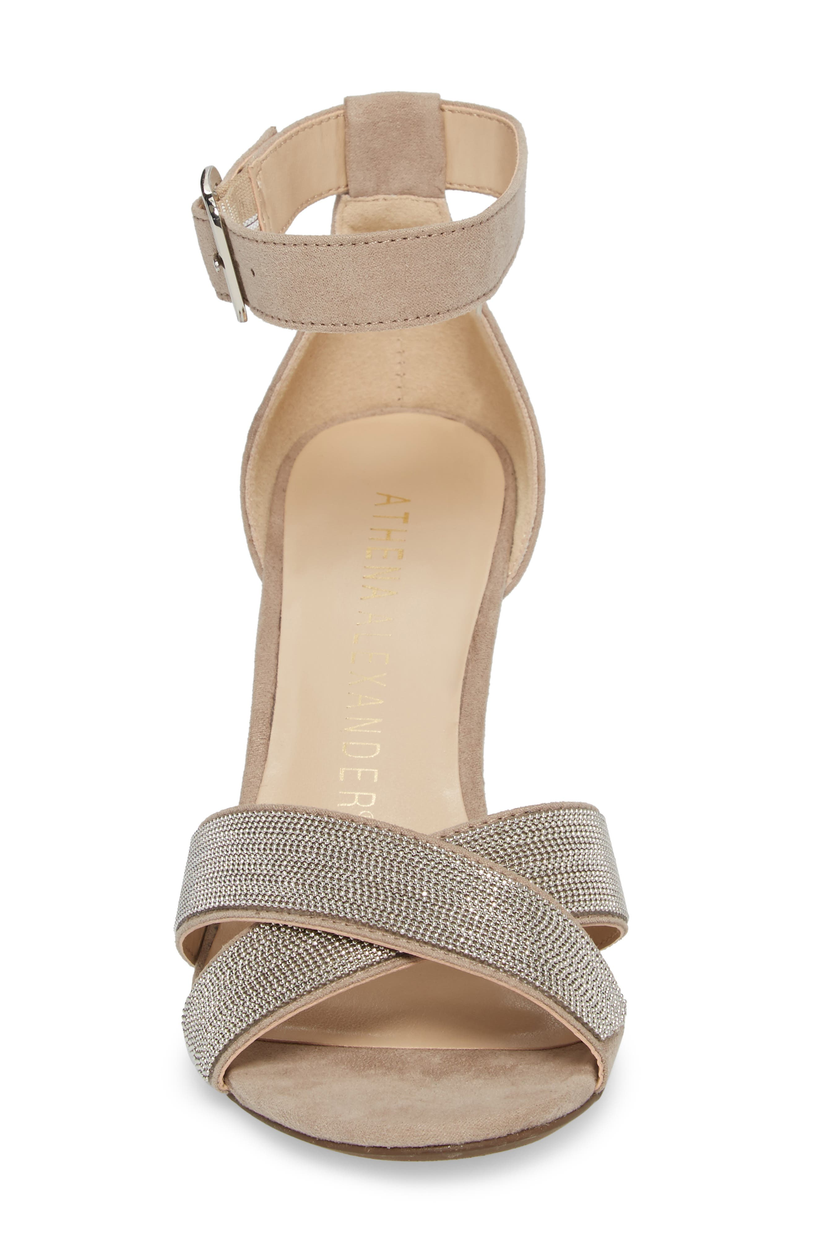 Zorra Wedge Sandal,                             Alternate thumbnail 4, color,                             TAUPE SUEDE