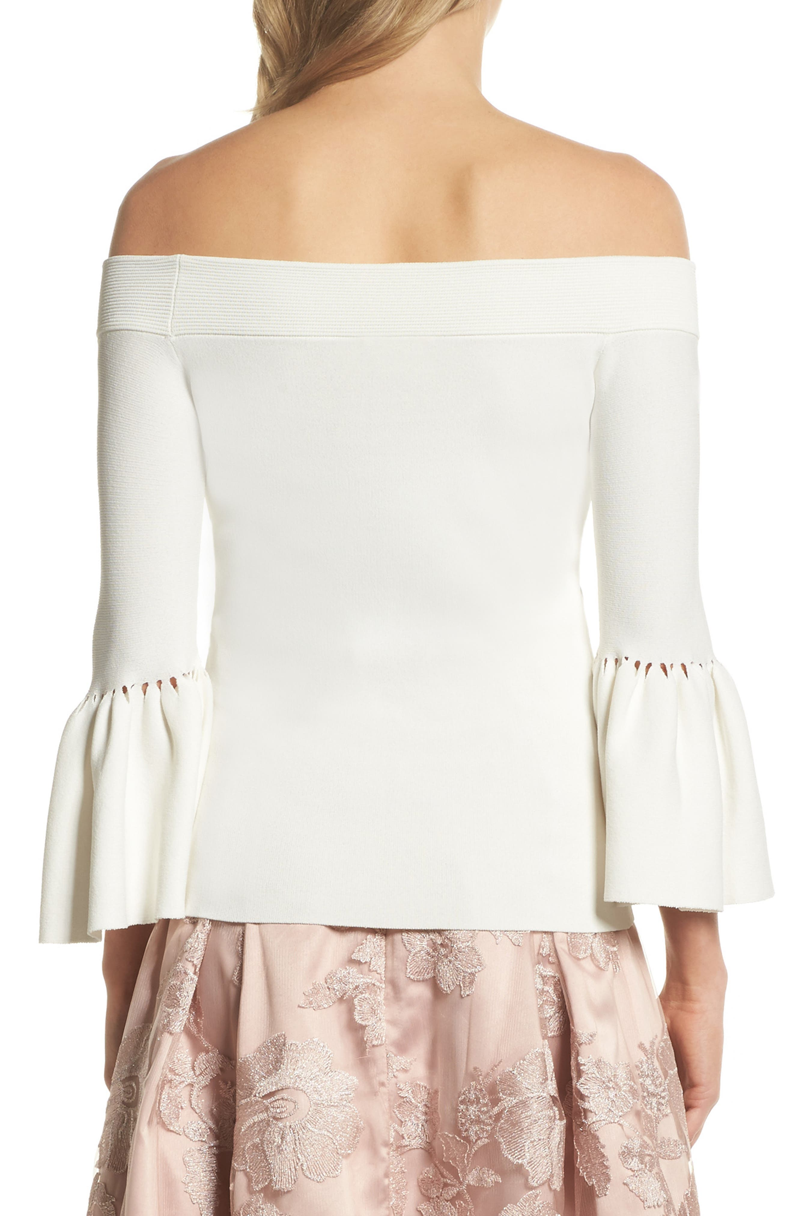 Off the Shoulder Bell Sleeve Top,                             Alternate thumbnail 4, color,