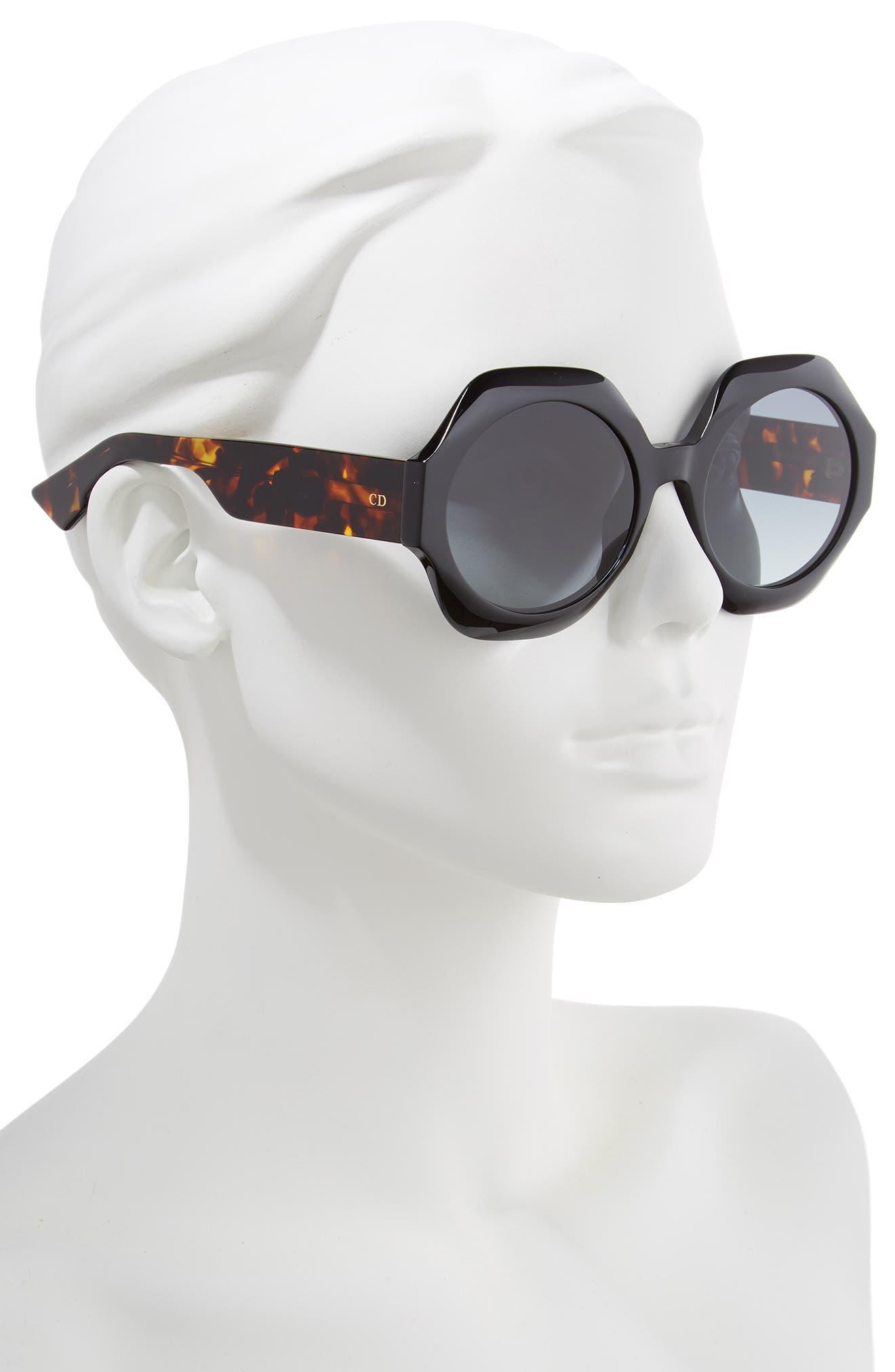 Spirit1 58mm Geometric Sunglasses,                             Alternate thumbnail 2, color,                             BLACK