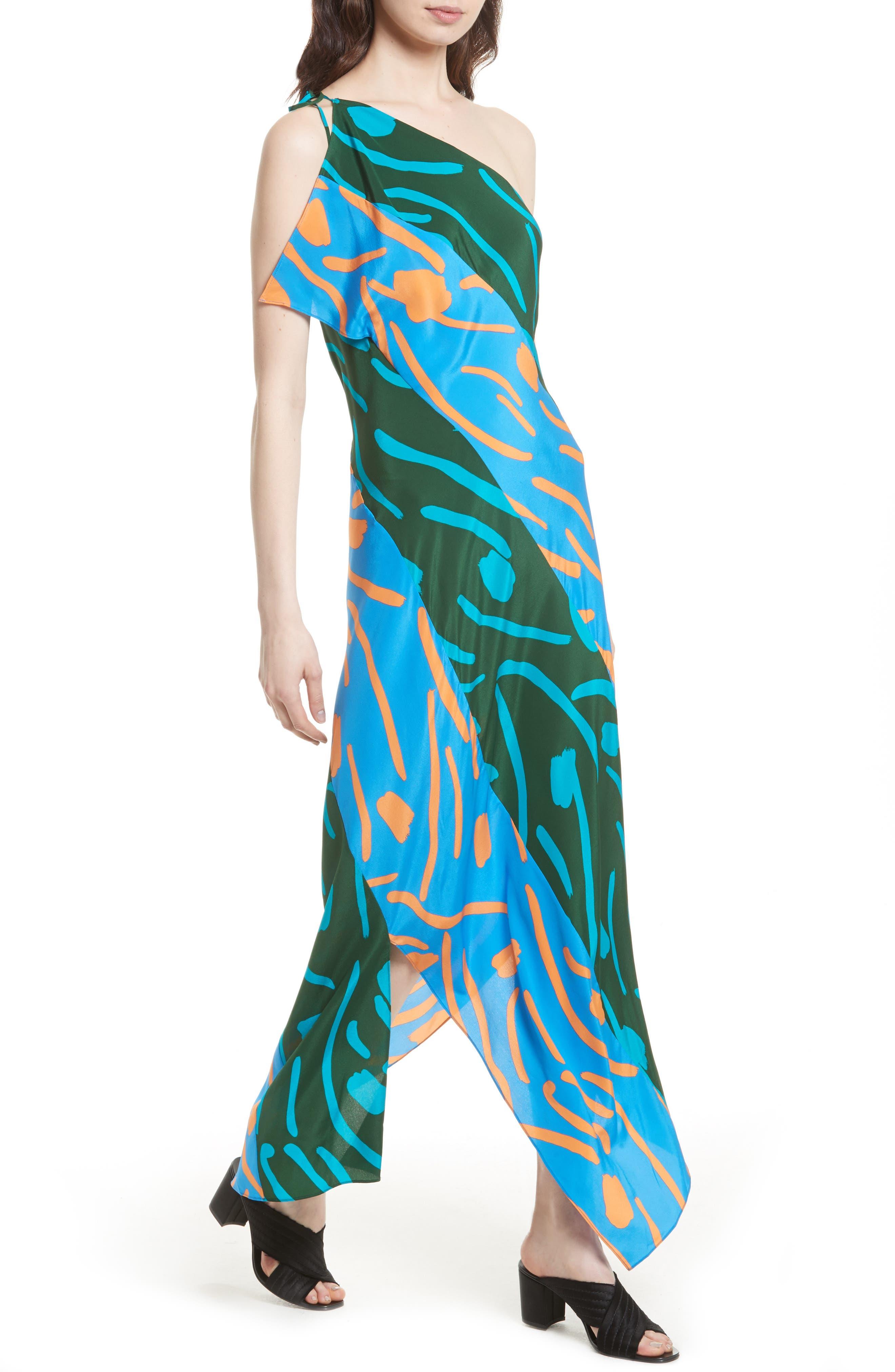 Diane von Furstenberg Silk Maxi Dress,                             Alternate thumbnail 4, color,                             440