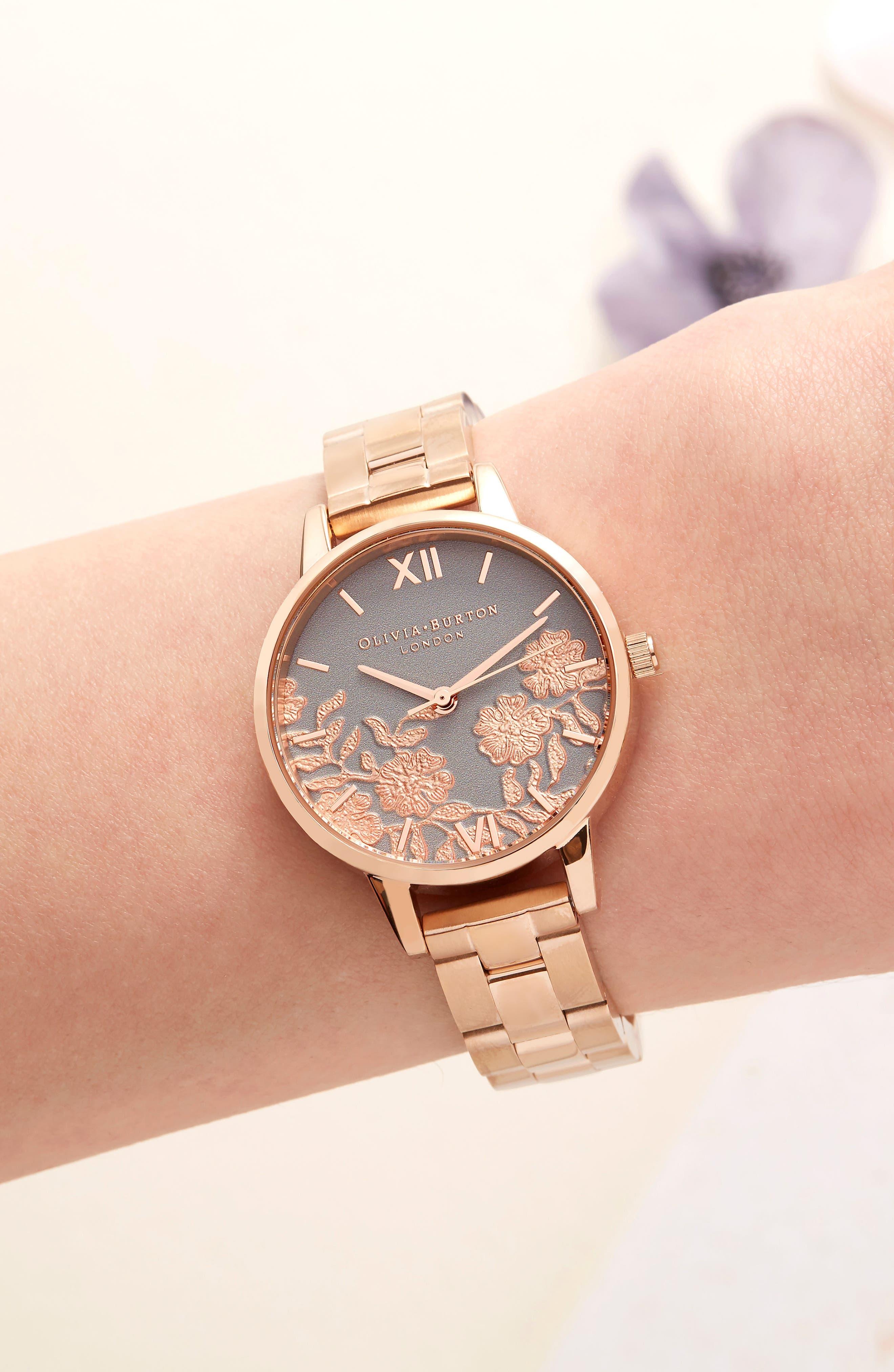 Lace Detail Bracelet Watch, 30mm,                             Alternate thumbnail 6, color,                             ROSE GOLD