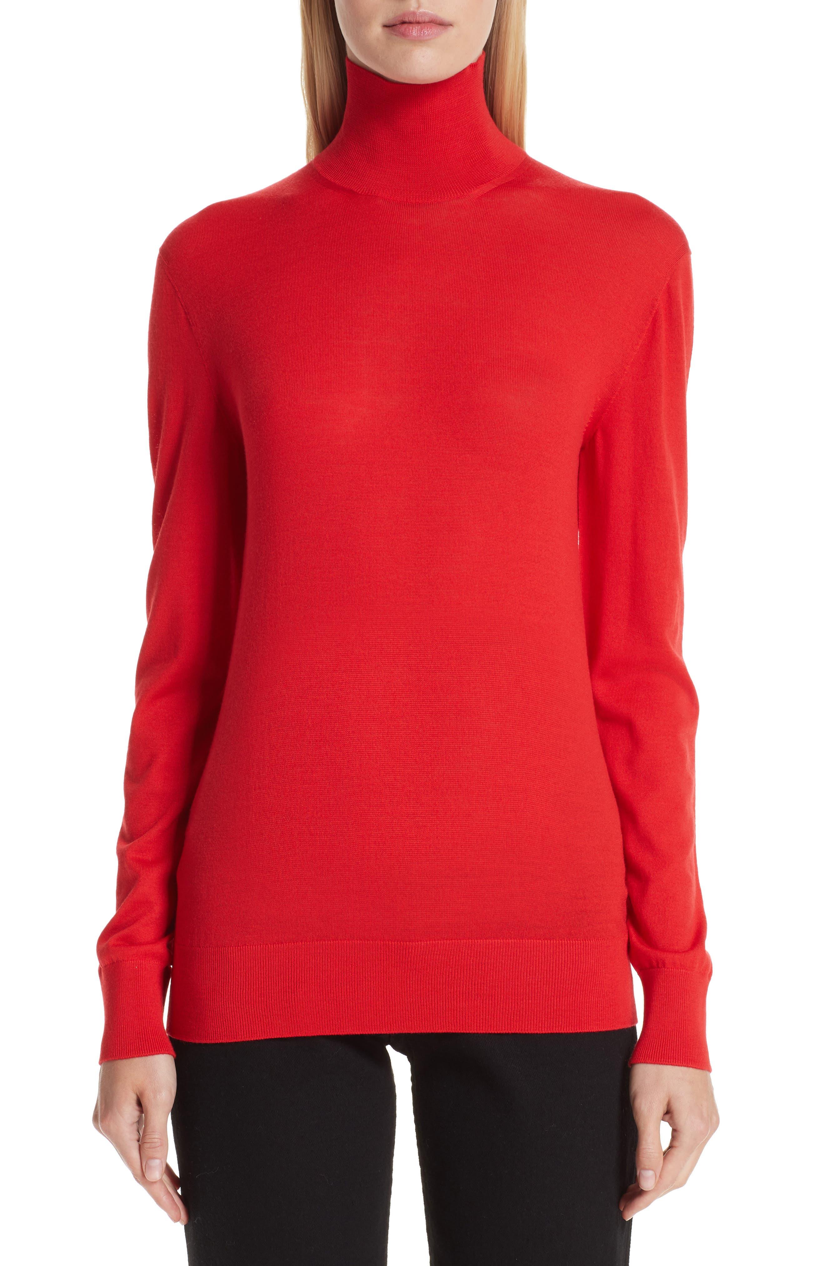 Kwaidan Editions Merino Wool Turtleneck Sweater, 8 FR - Red