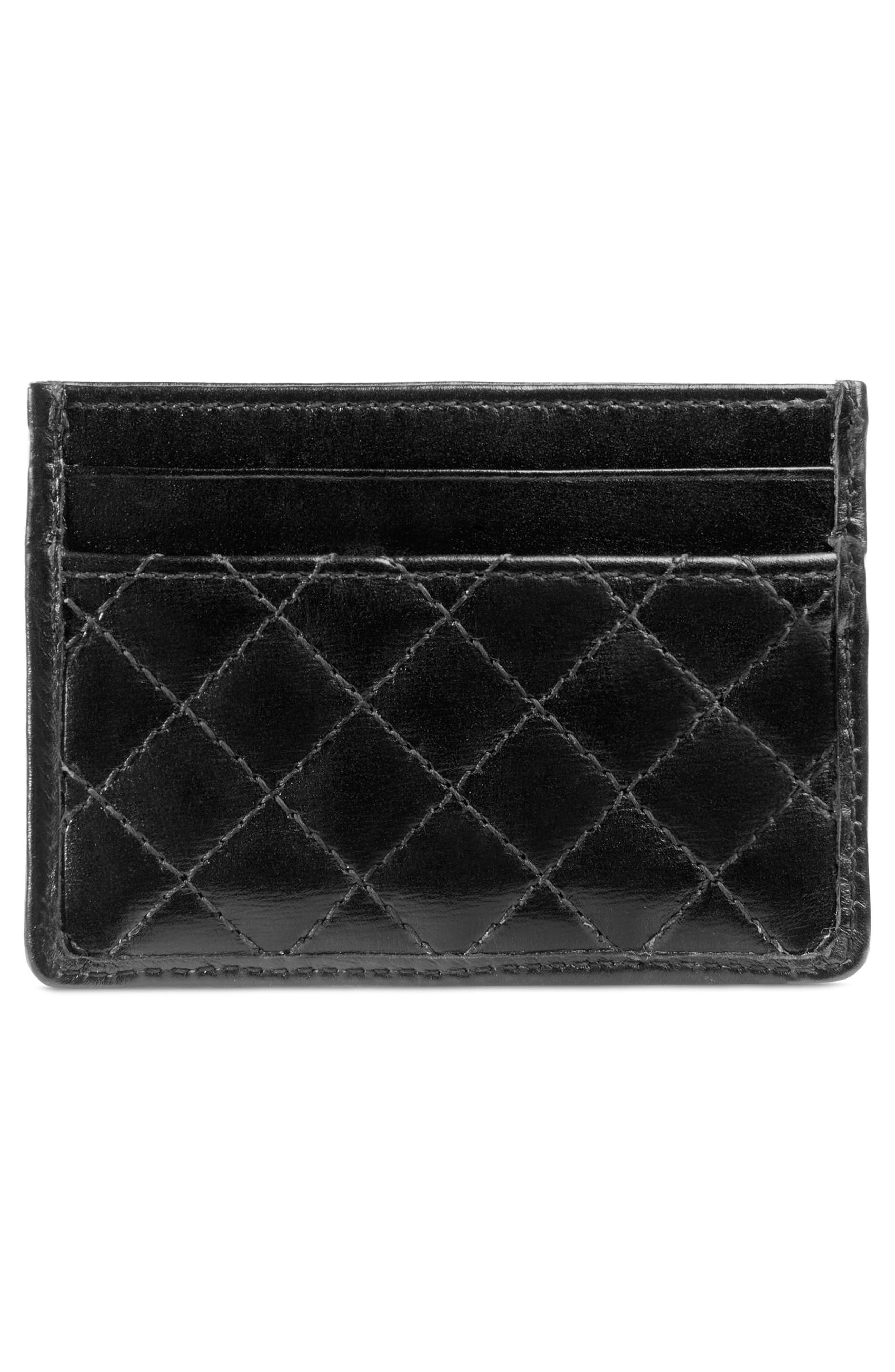 Quilted Leather Card Case,                             Alternate thumbnail 3, color,                             NERO/ VERT/ RED