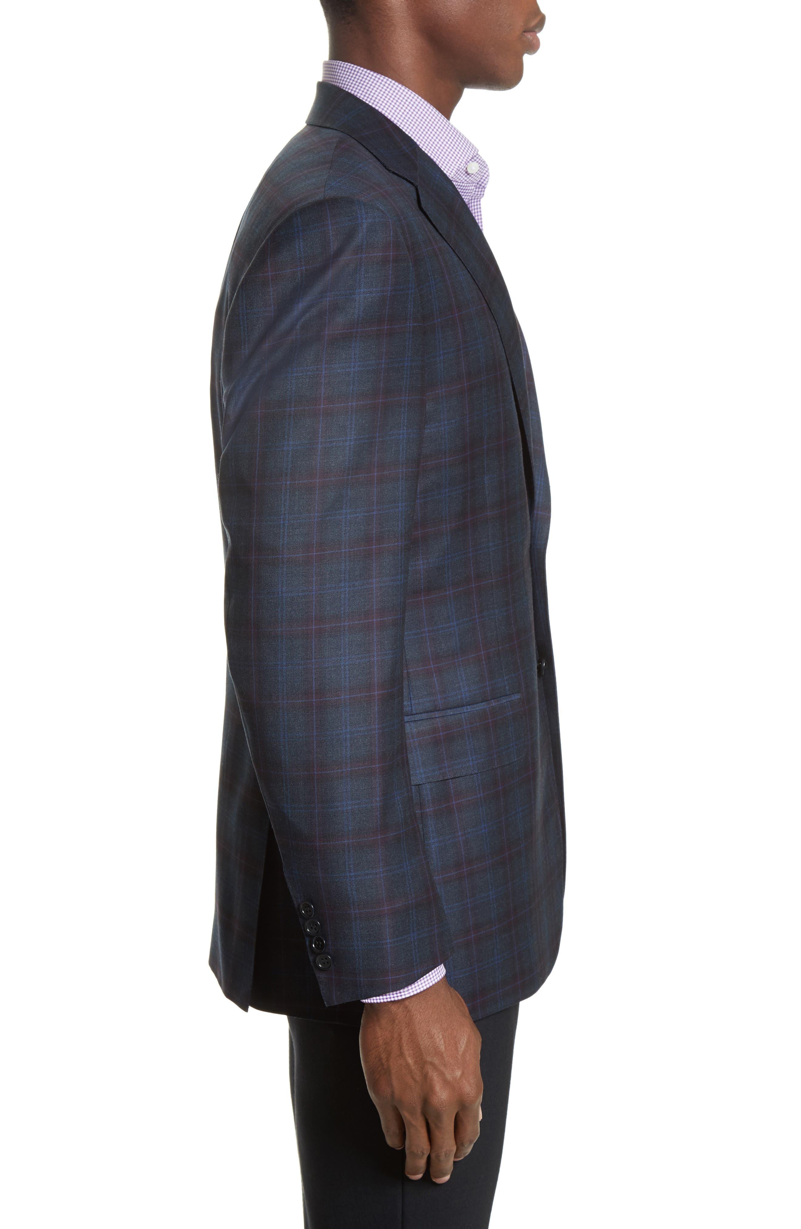 Kei Classic Fit Plaid Wool Sport Coat,                             Alternate thumbnail 3, color,                             400