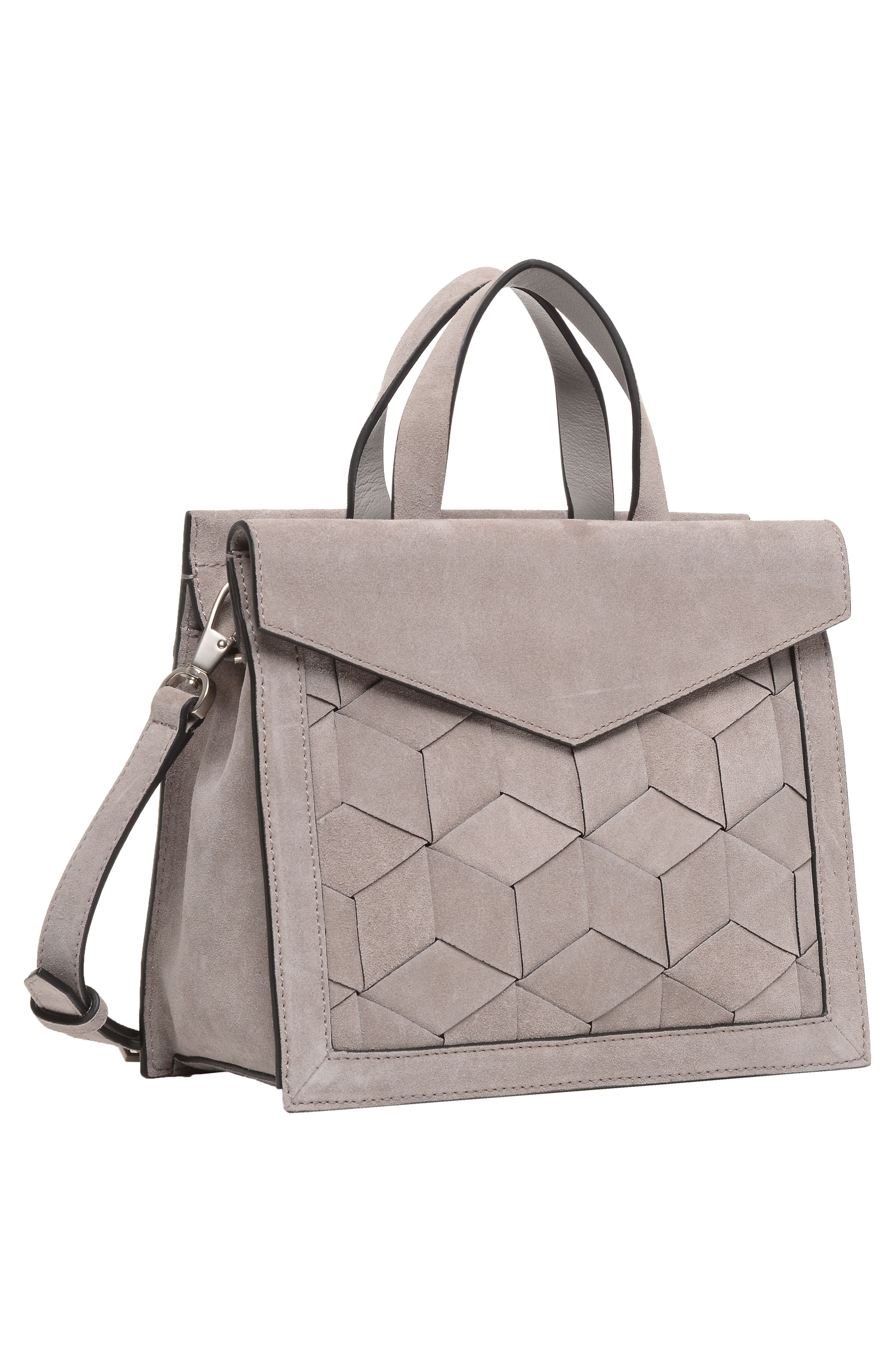 Small Voyager Leather Convertible Satchel,                             Alternate thumbnail 4, color,                             020