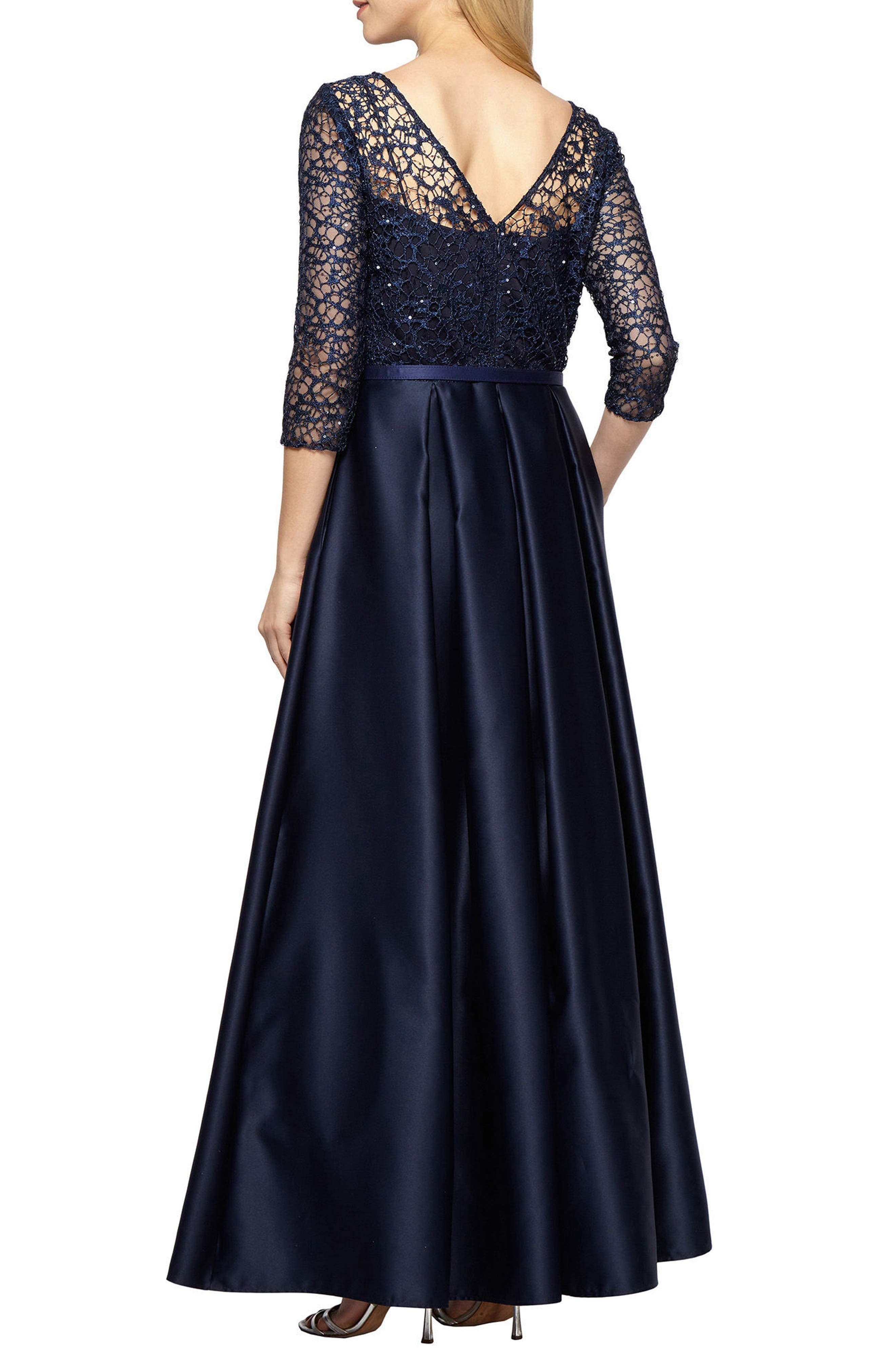 Embellished Lace & Satin Ballgown,                             Alternate thumbnail 2, color,                             410