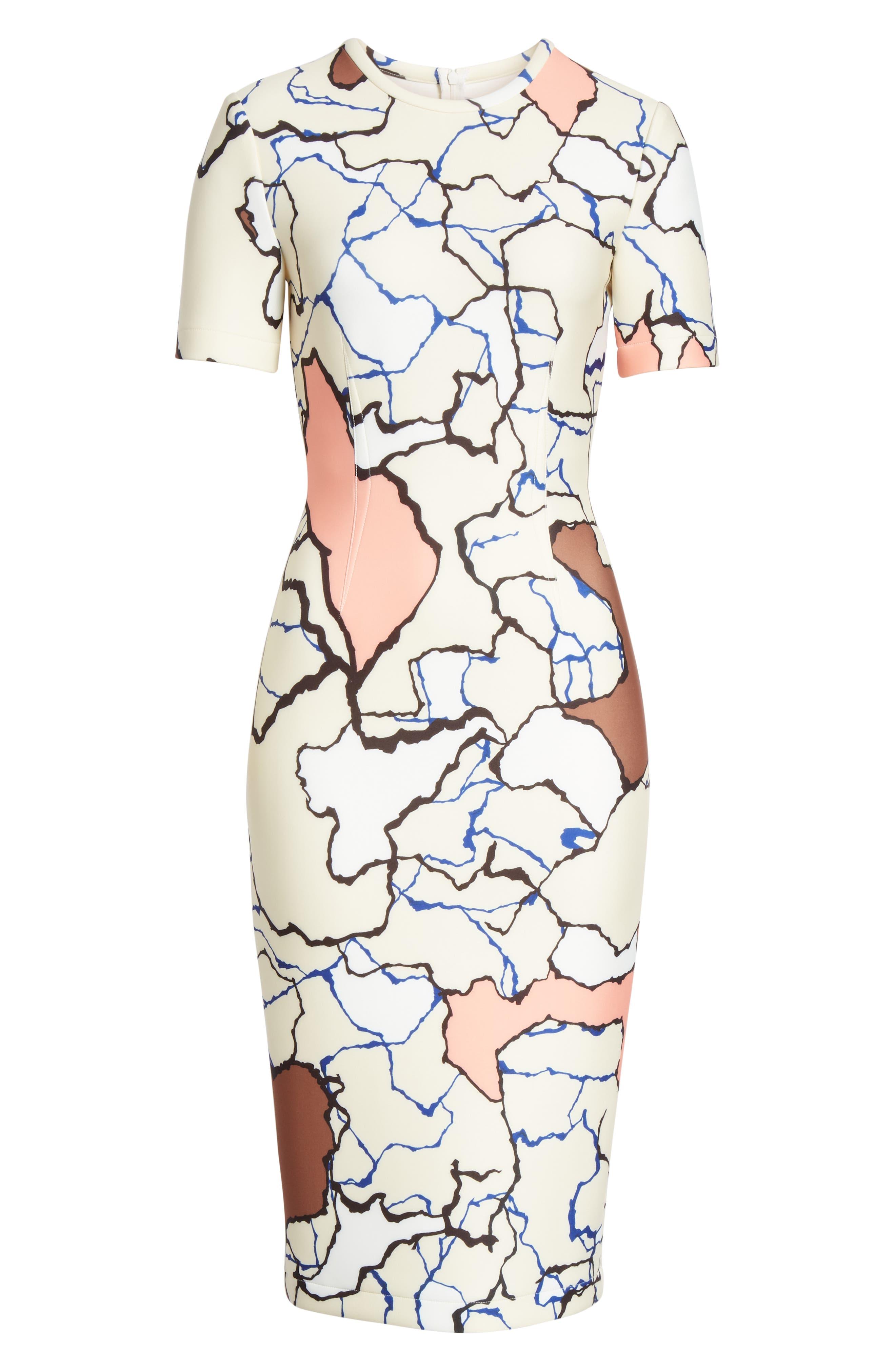 YIGAL AZROUËL,                             Terrazzo Print Scuba Dress,                             Alternate thumbnail 7, color,                             MULTI
