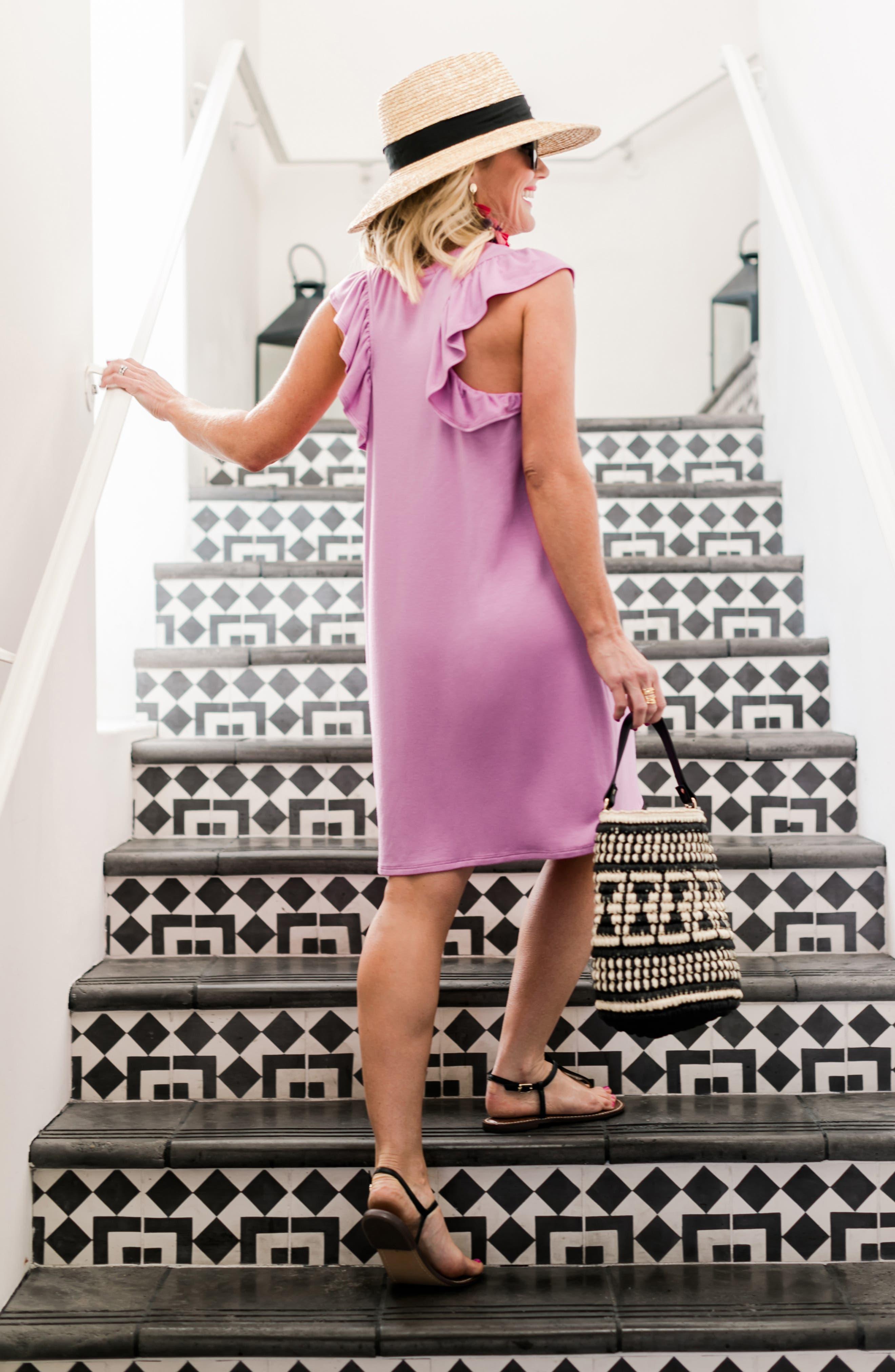 x Hi Sugarplum! Laguna Soft Jersey Ruffle Back T-Shirt Dress,                             Alternate thumbnail 8, color,                             PEONY