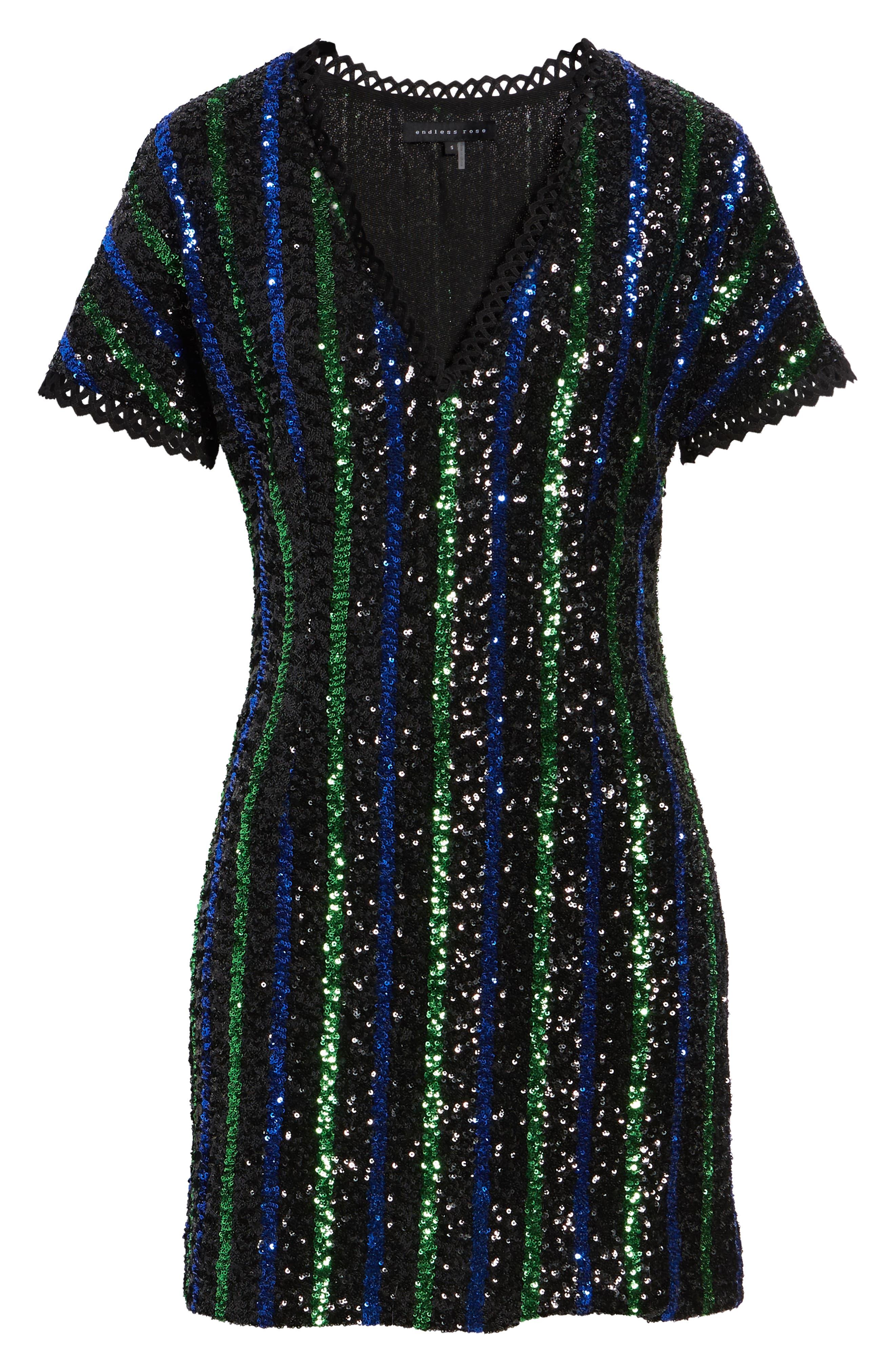 Sequin Stripe Minidress,                             Alternate thumbnail 7, color,                             BLACK