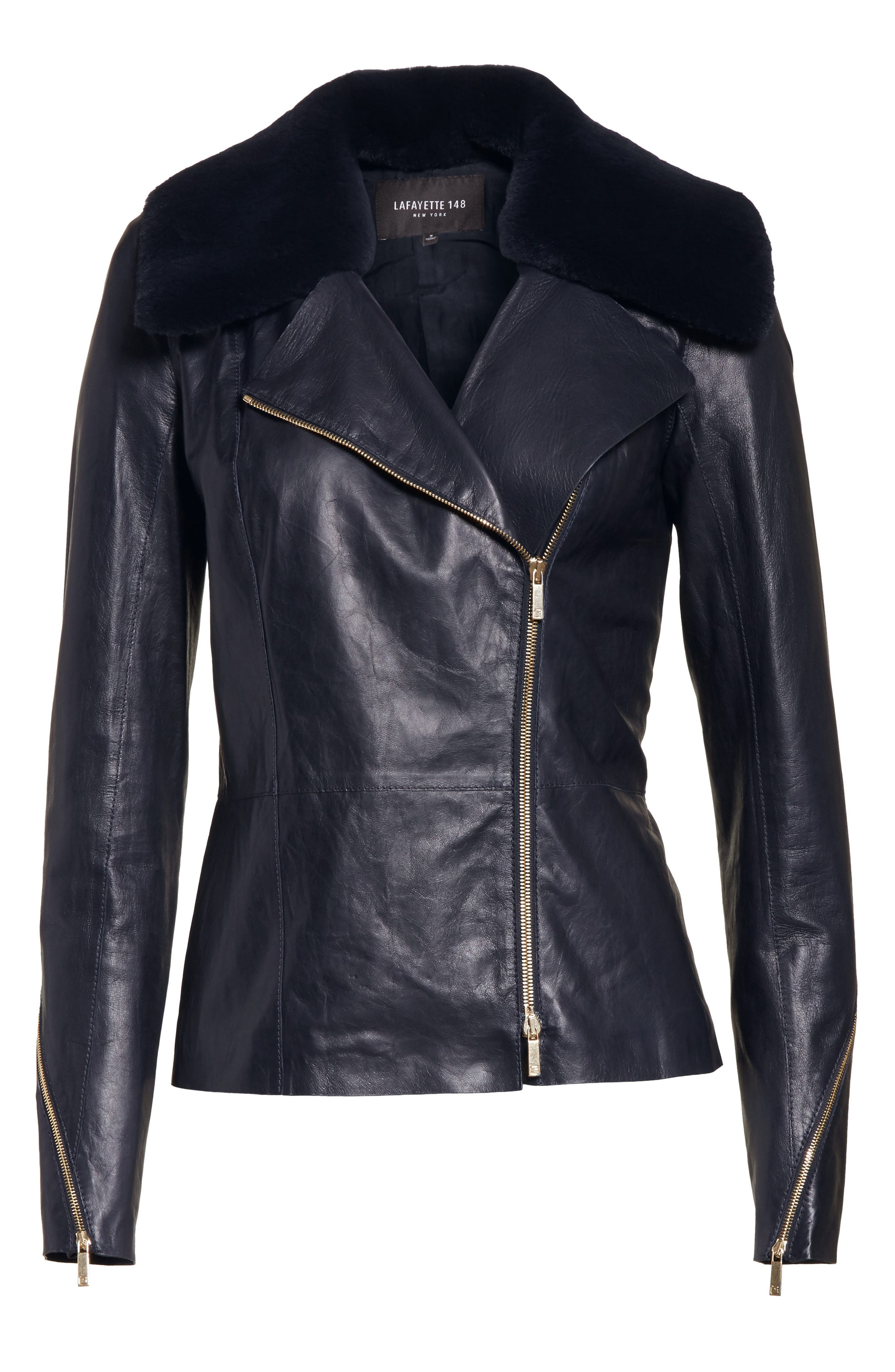Kimbry Leather Jacket with Removable Genuine Rex Rabbit Fur Collar,                             Alternate thumbnail 5, color,                             479