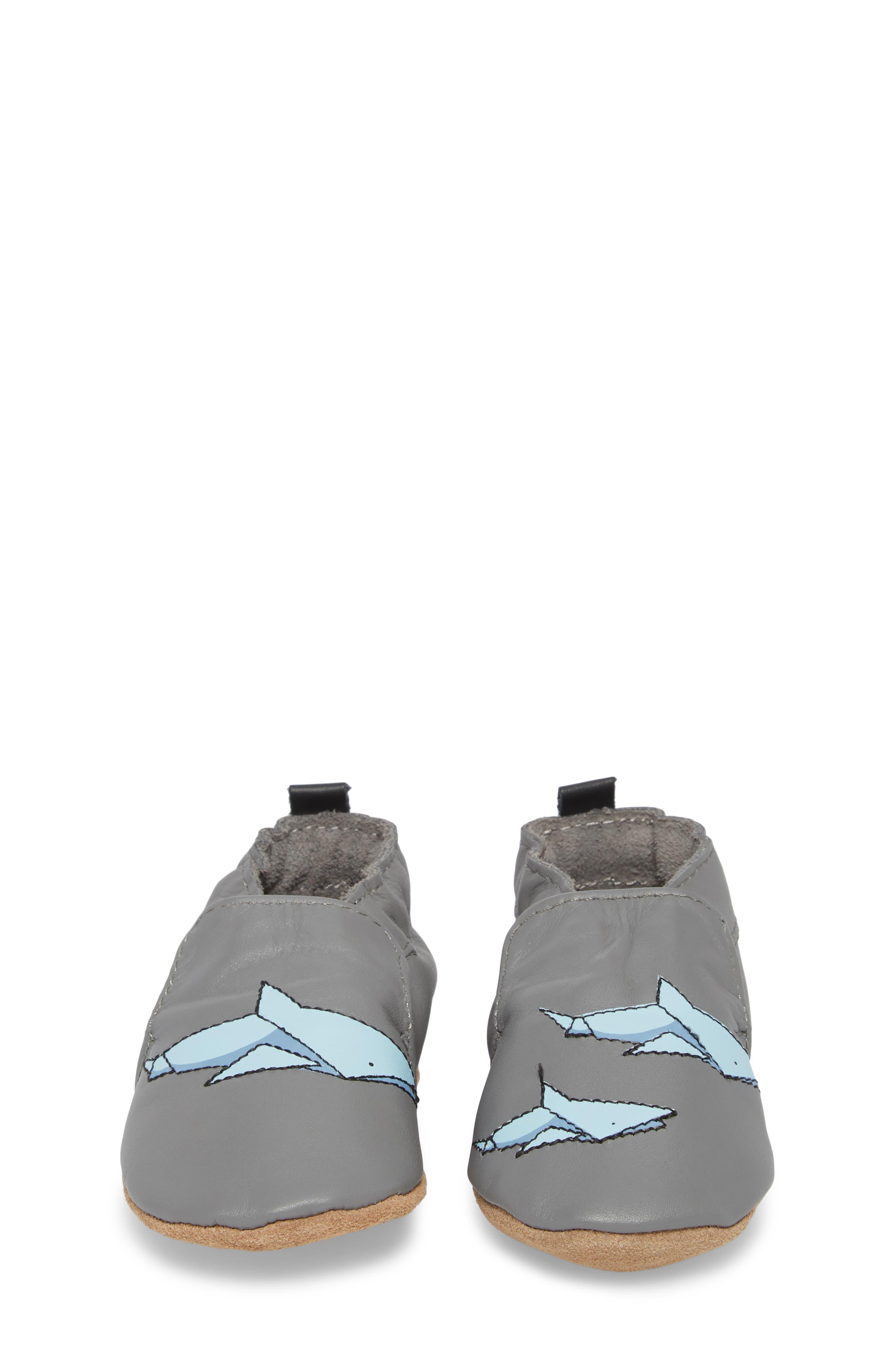 Sharktastic Moccasin Crib Shoe,                             Alternate thumbnail 4, color,                             GREY
