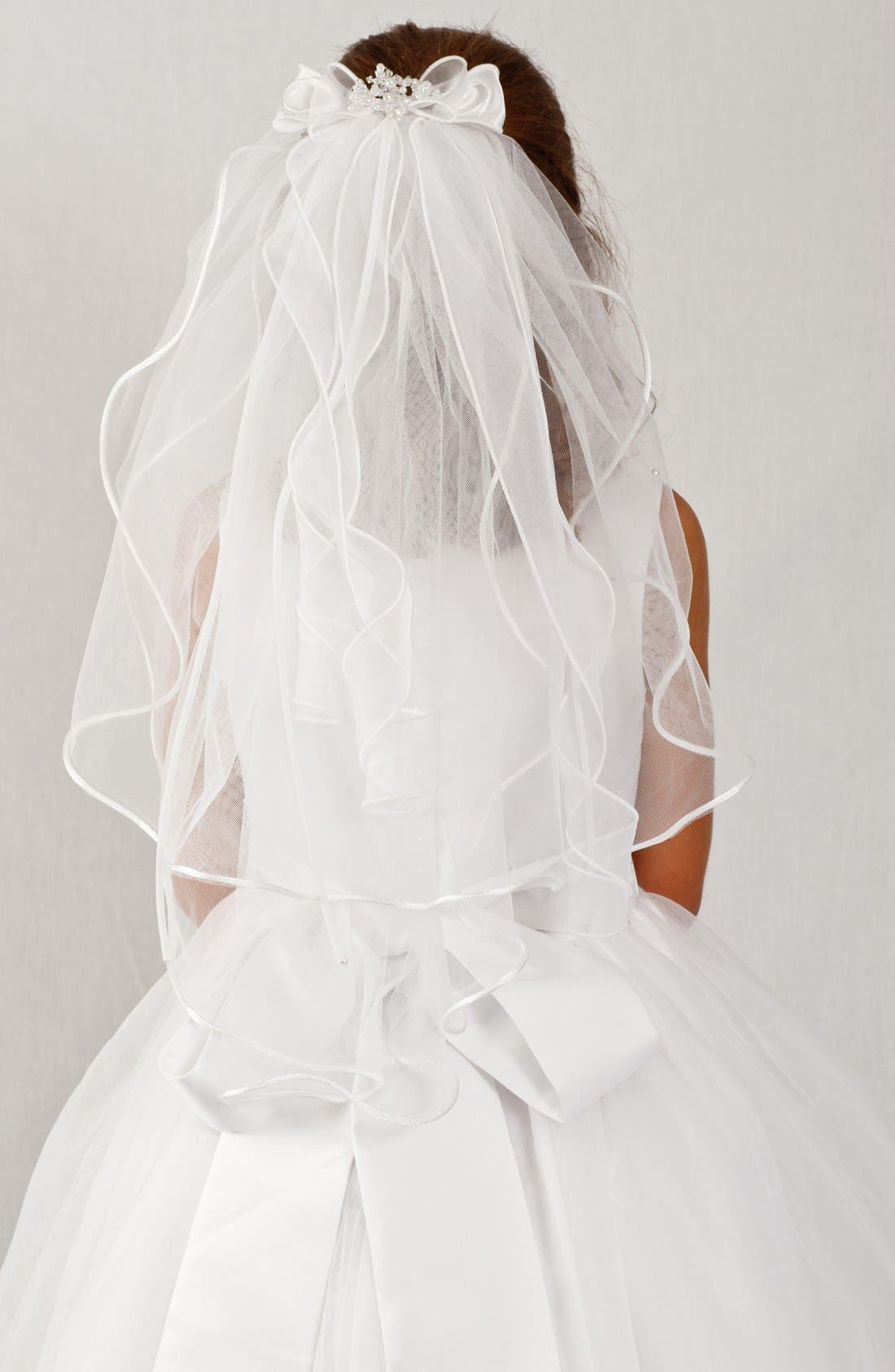 Organza Bow Veil, Main, color, WHITE