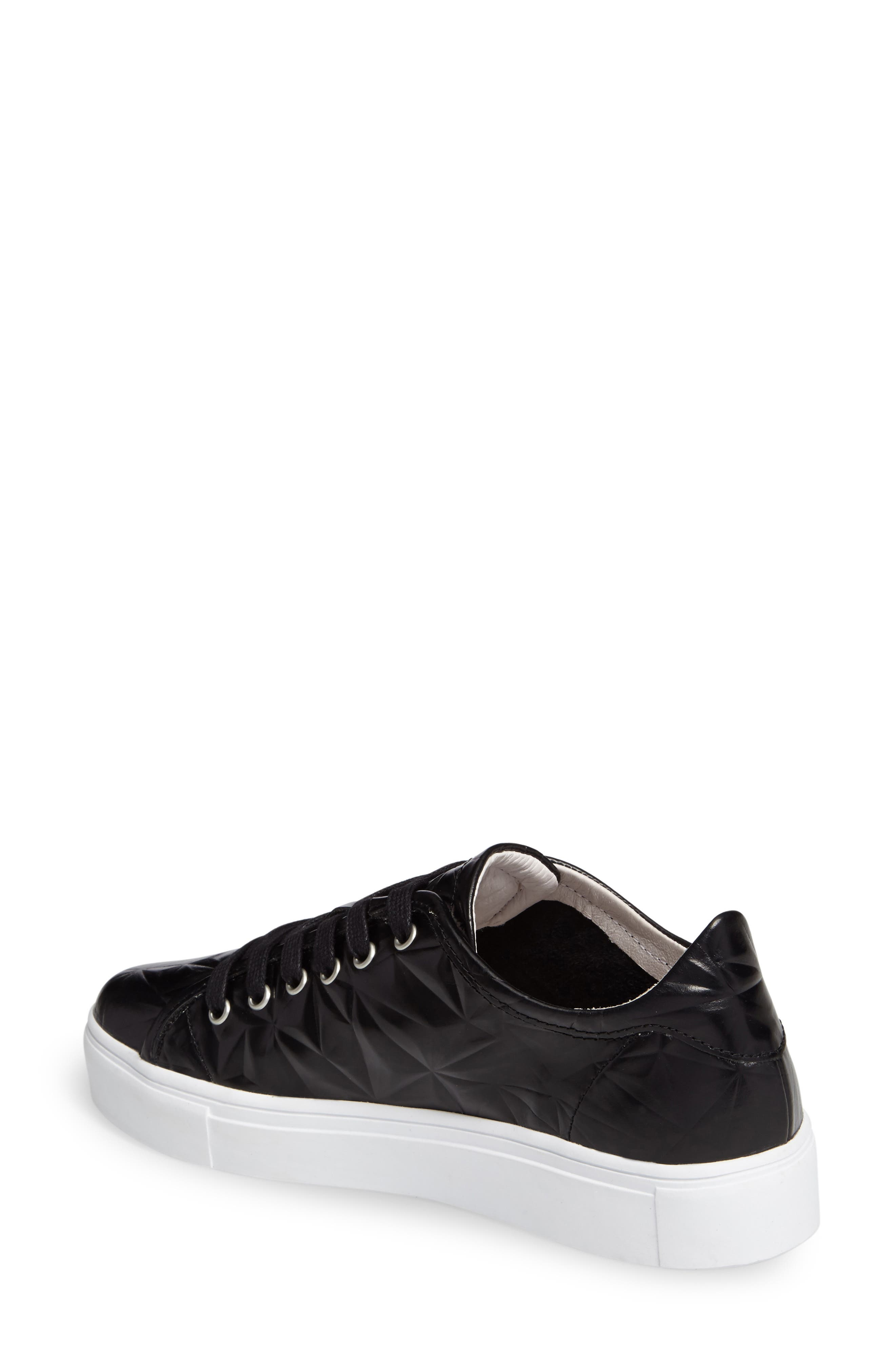 NL34 Faceted Sneaker,                             Alternate thumbnail 2, color,                             BLACK LEATHER