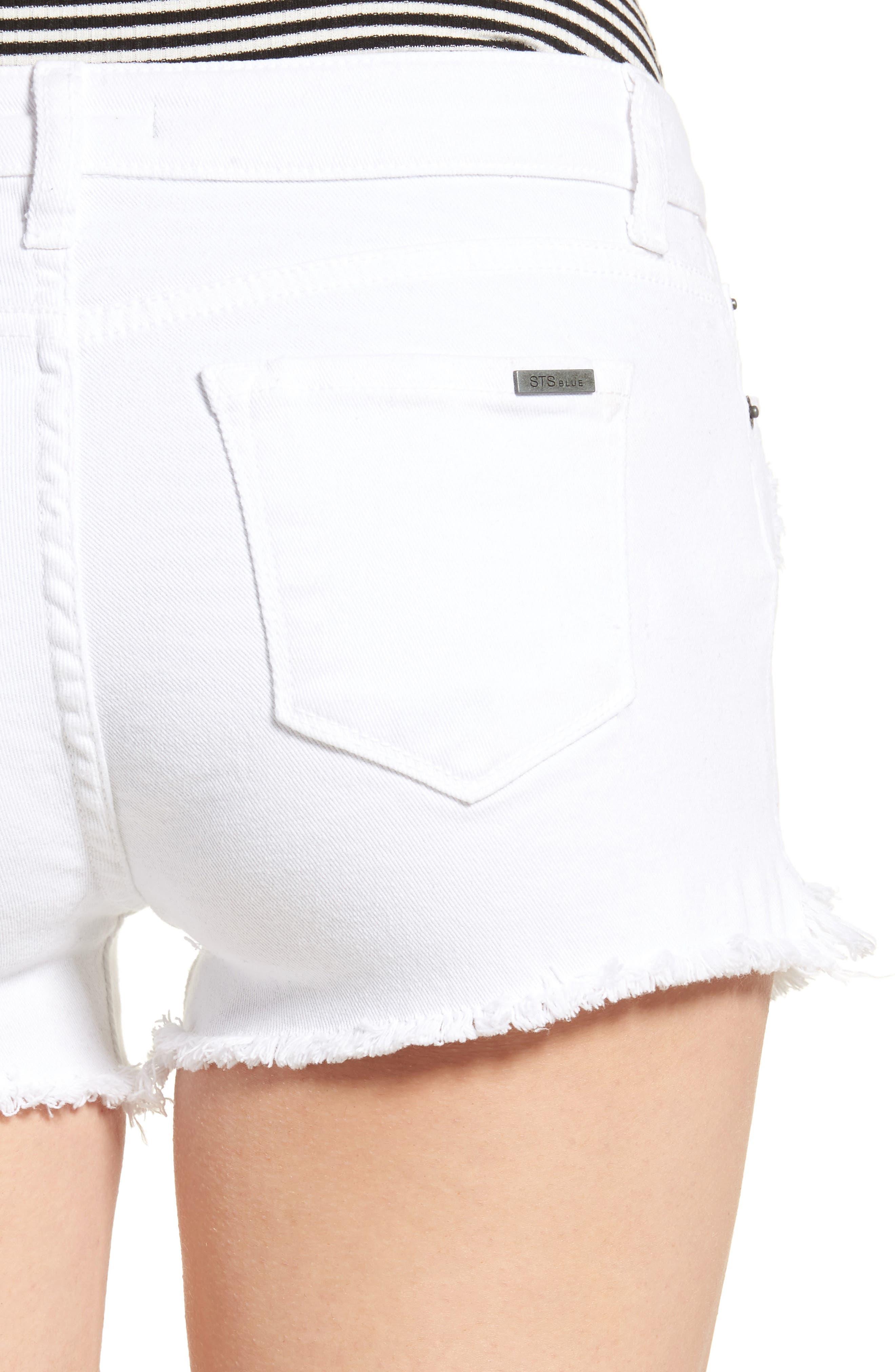 Raw Hem Denim Shorts,                             Alternate thumbnail 4, color,                             WHITE