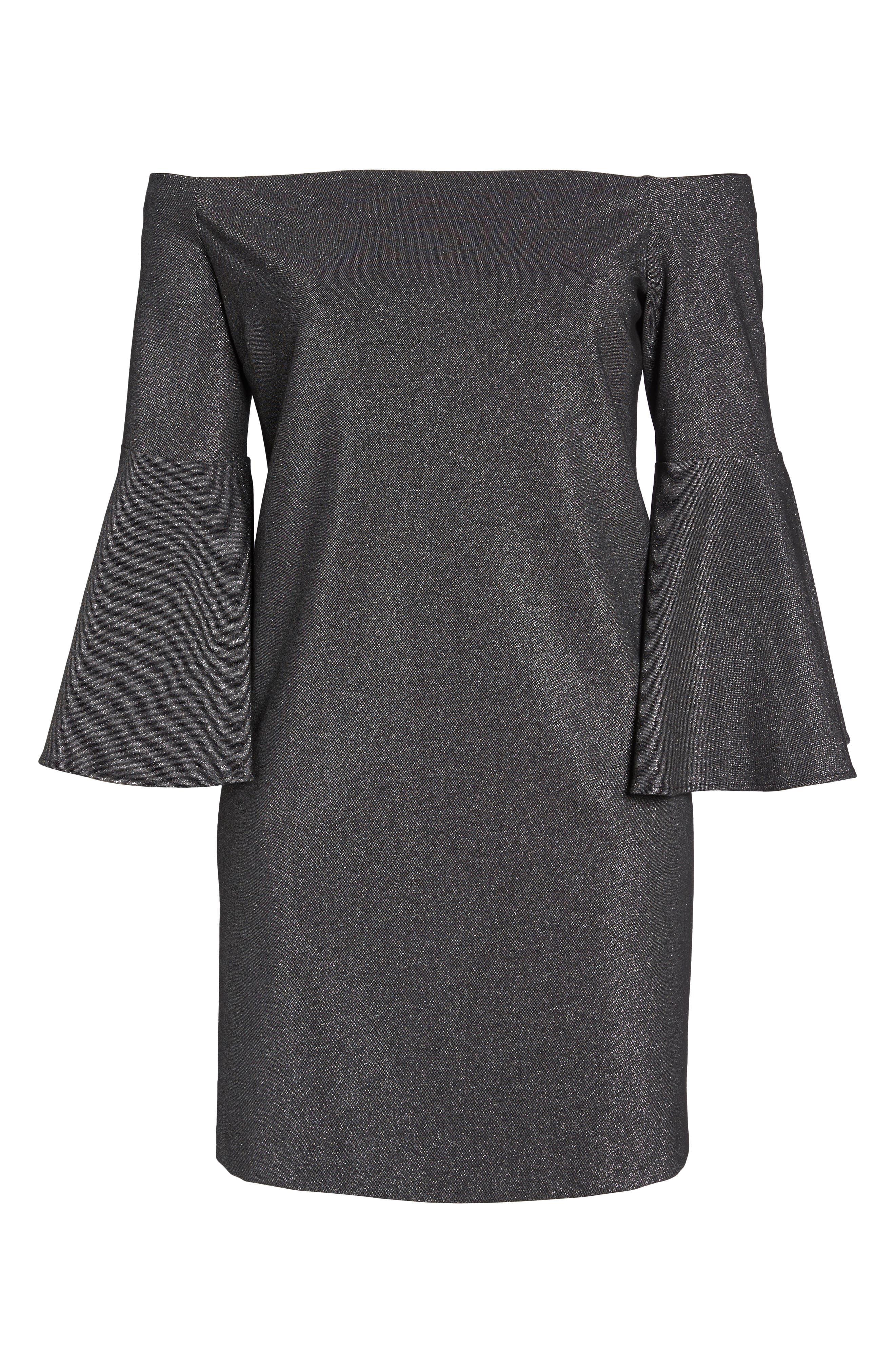 Off the Shoulder Metallic Sheath Dress,                             Alternate thumbnail 6, color,                             006