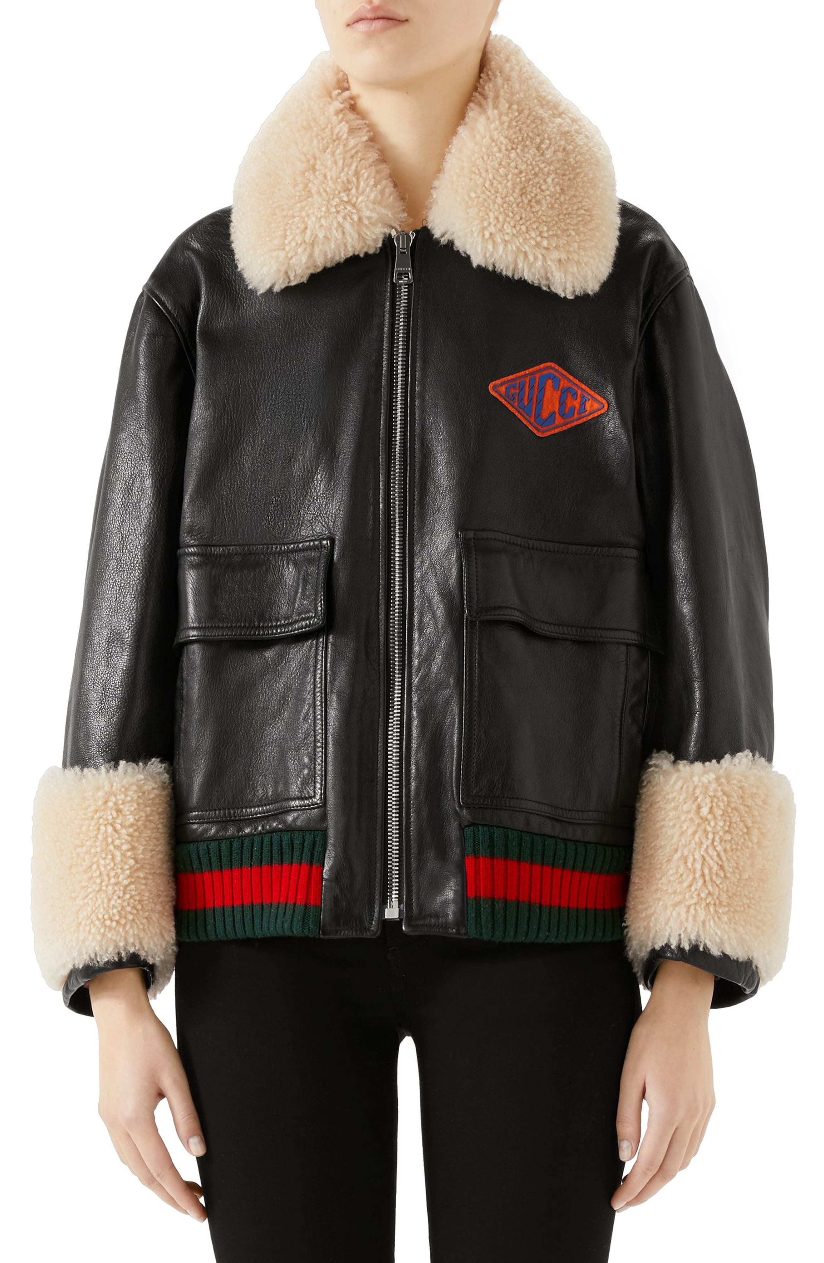 Gucci Genuine Shearling Trim Leather Bomber Jacket, 8 IT - Black